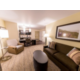 Living room, work space and full kitchenette in One Bedroom Suite
