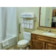 Sparkling clean bathroom with tub shower combination