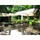 Terrasse du Café Jardin ombragée et entourée de verdure