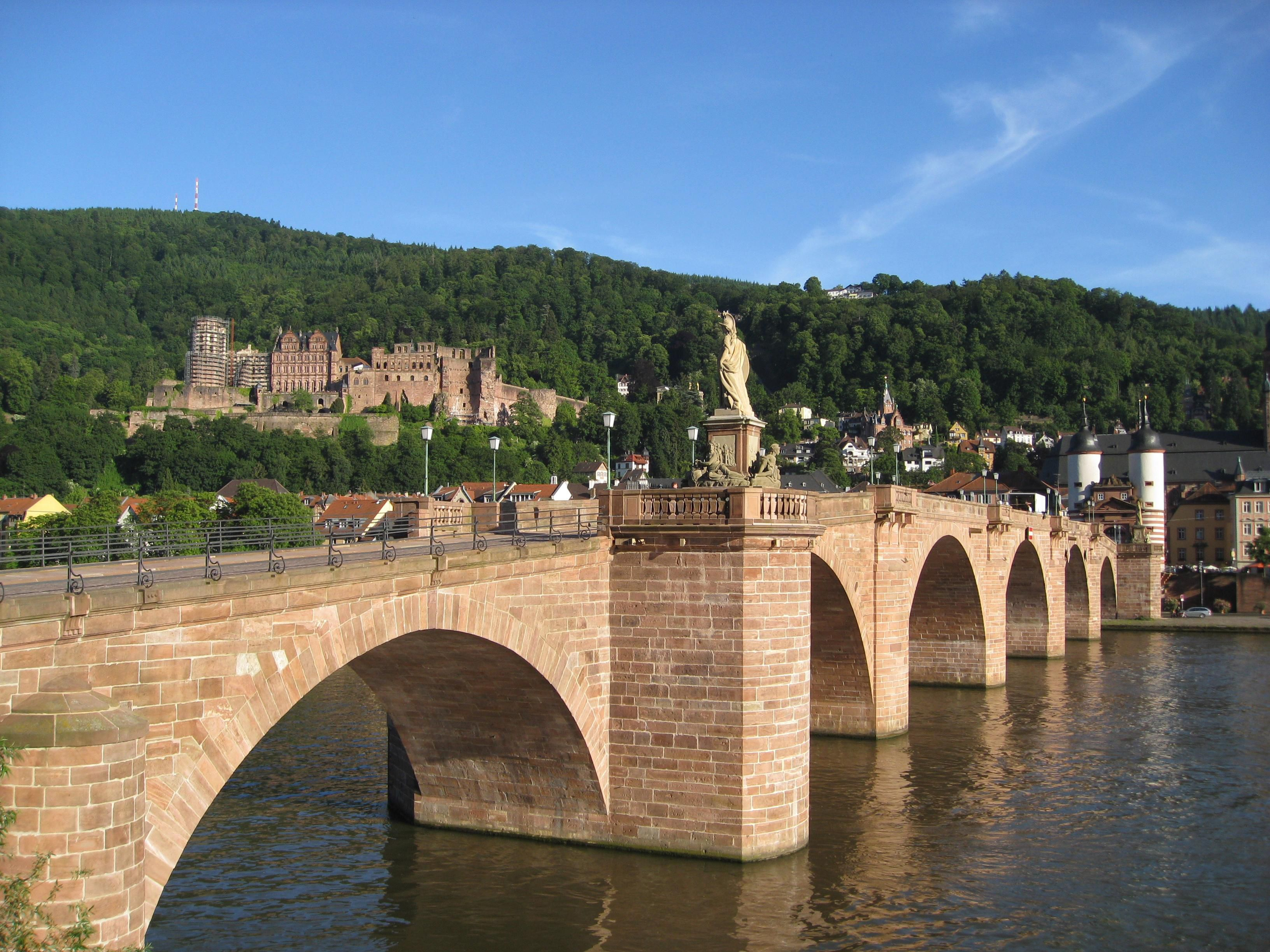 Beautiful Heidelberg: historic city, Neckar river and the castle