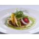 Tartelette de légumes primeurs, caviar d'aubergines et pistou