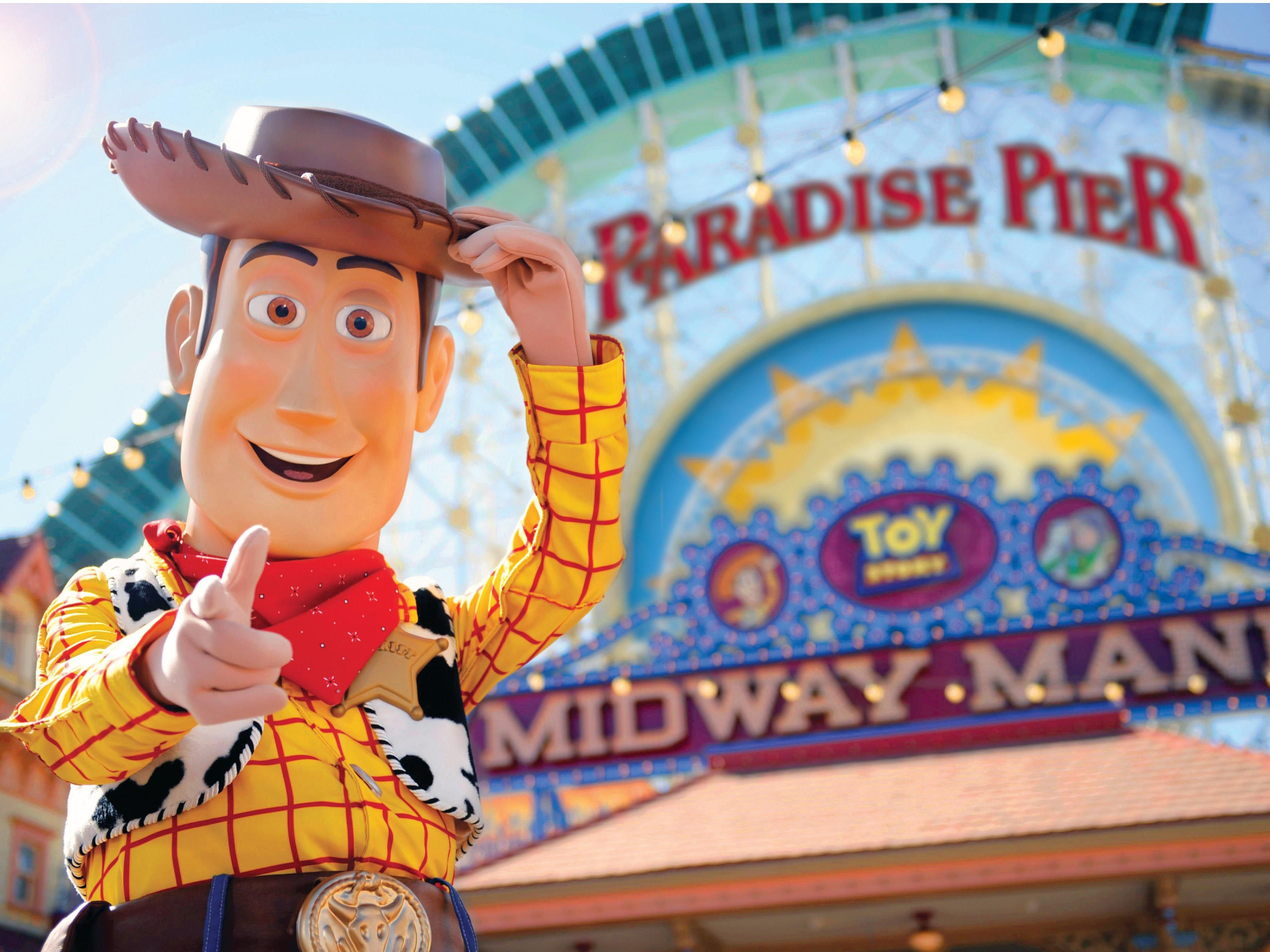 Paradise Pier and Toy Story's Woody
