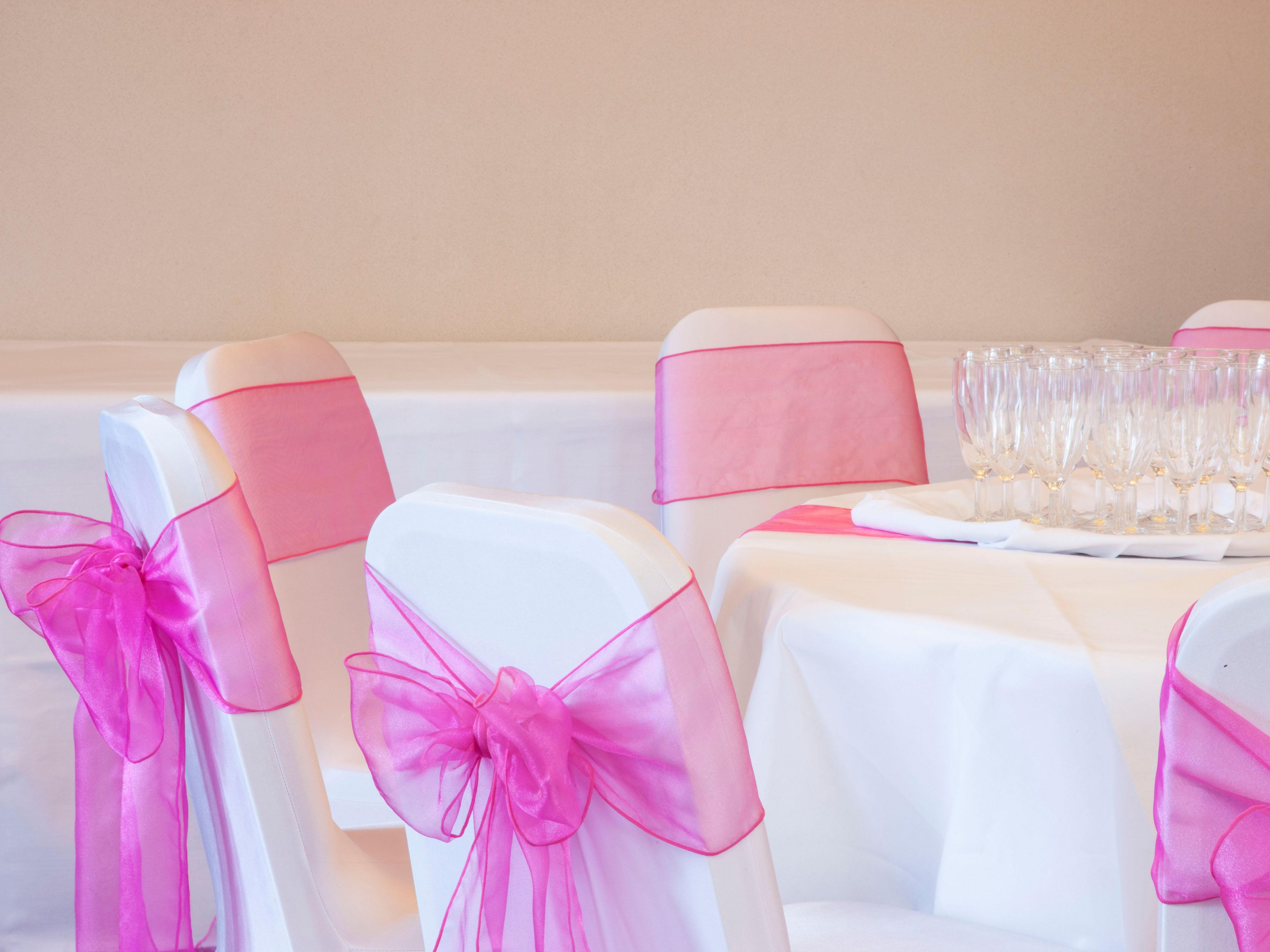 Wye suite wedding with pink bows