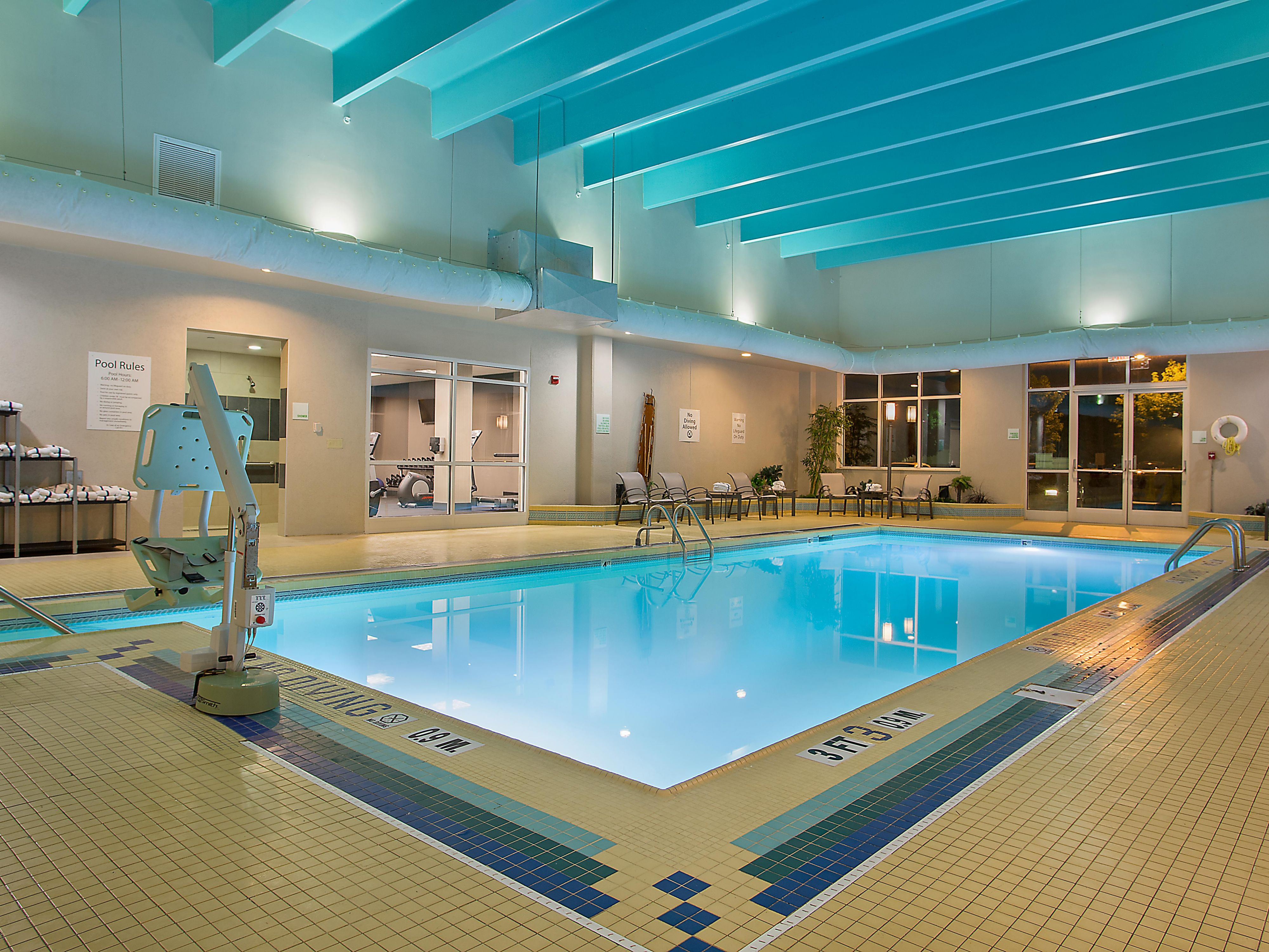 Enjoy a relaxing swim in our heated, indoor pool