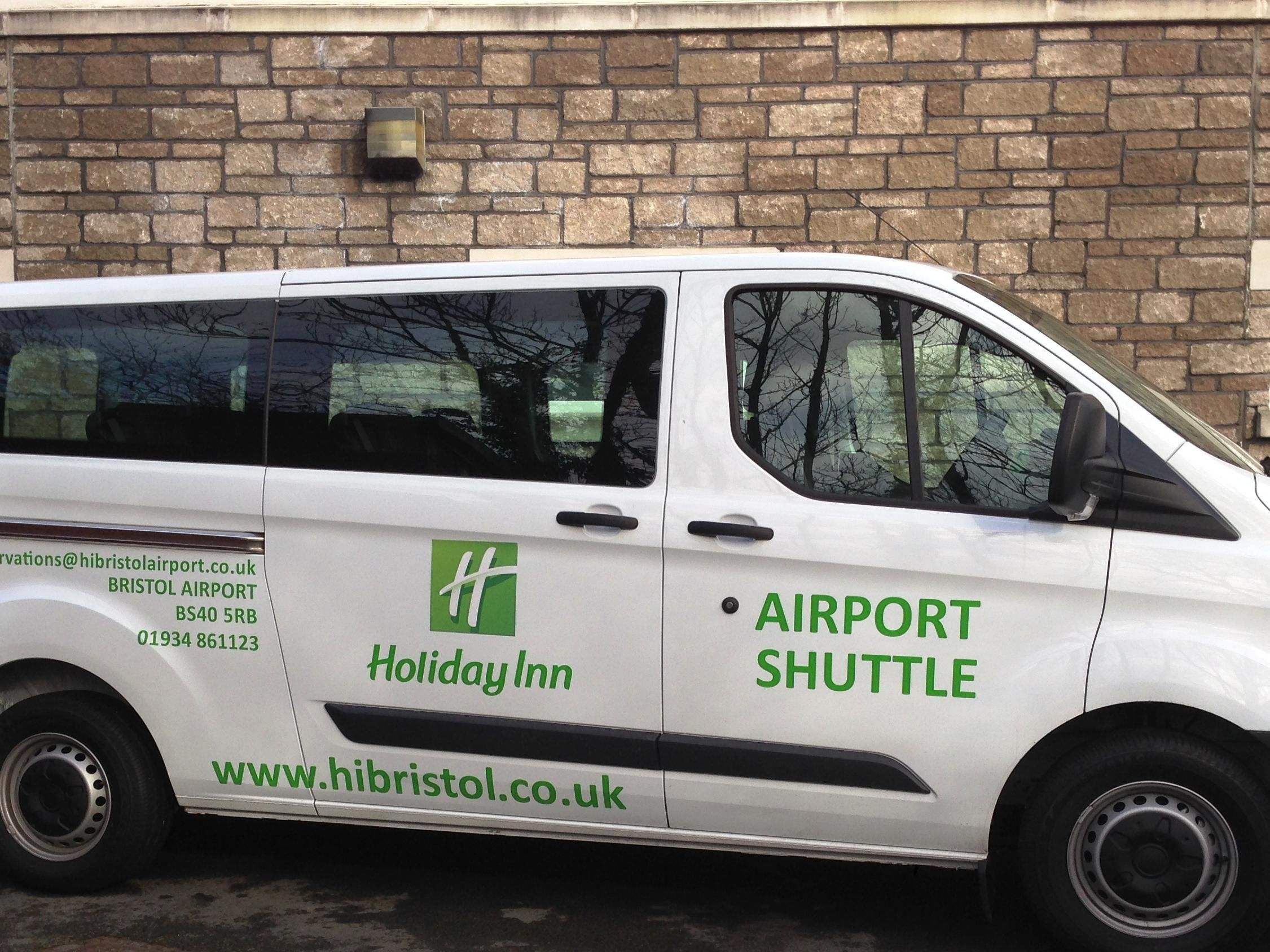 Our shuttle bus - ready and waiting to take you to the airport