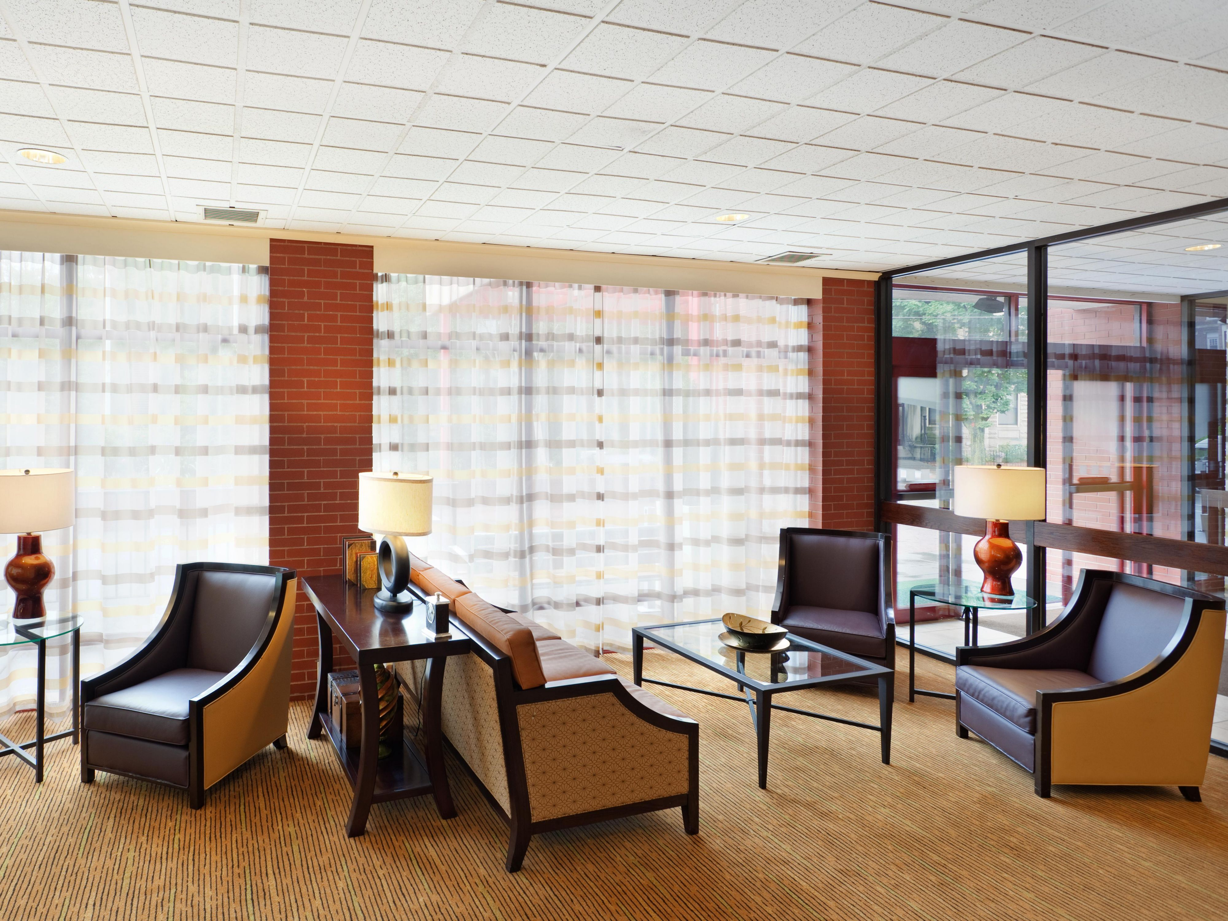 Guests can enjoy a morning cup of coffee in our bright  lobby.