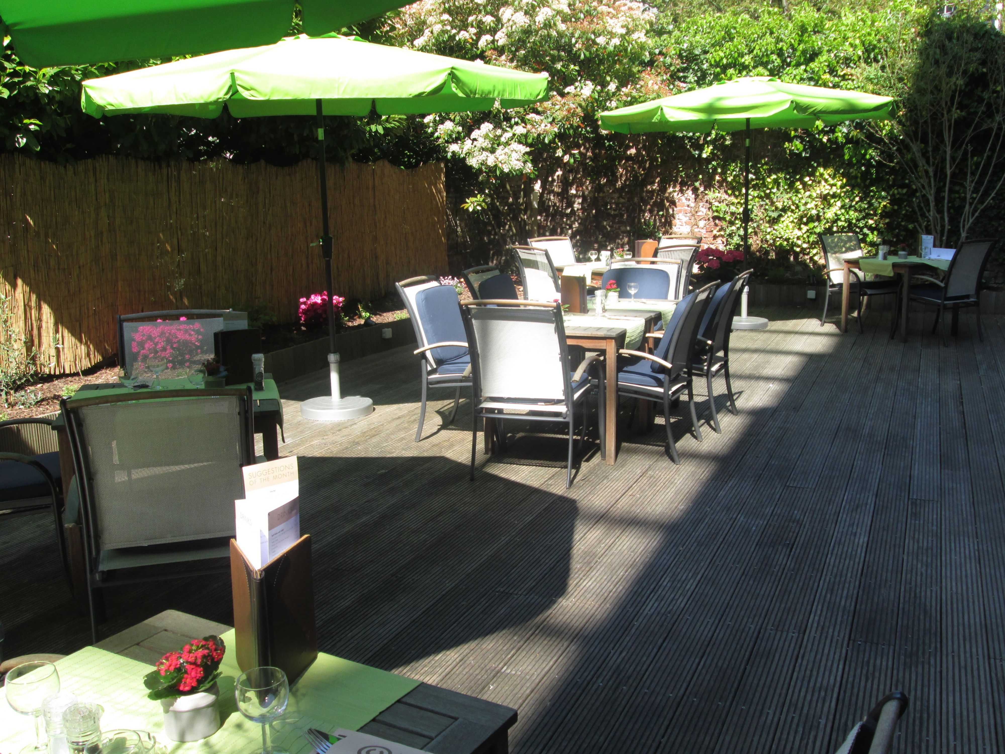 You can dine in the leafy courtyard on warm days