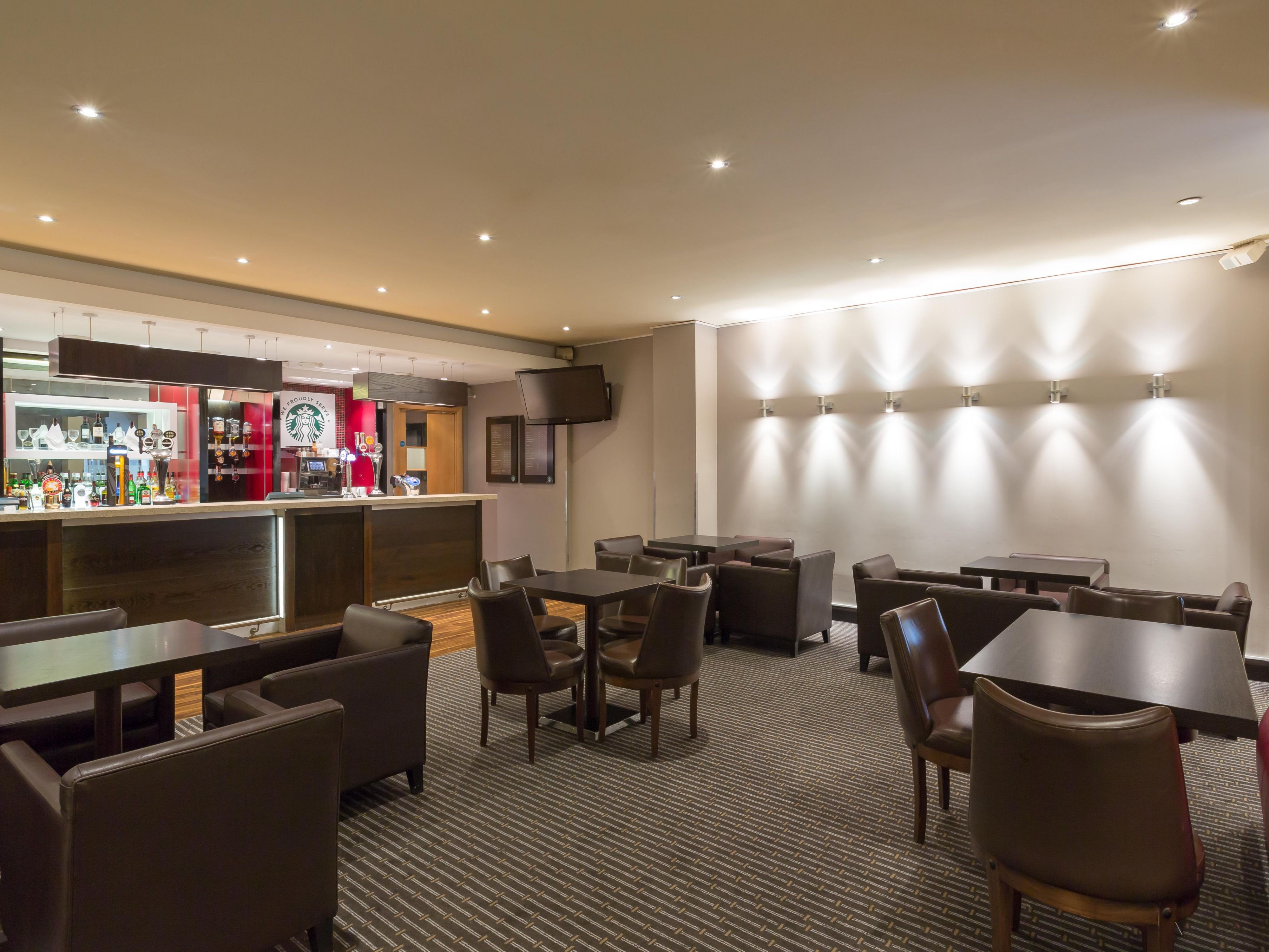 Enjoy a coffee or cocktail at the casual Hub Bar