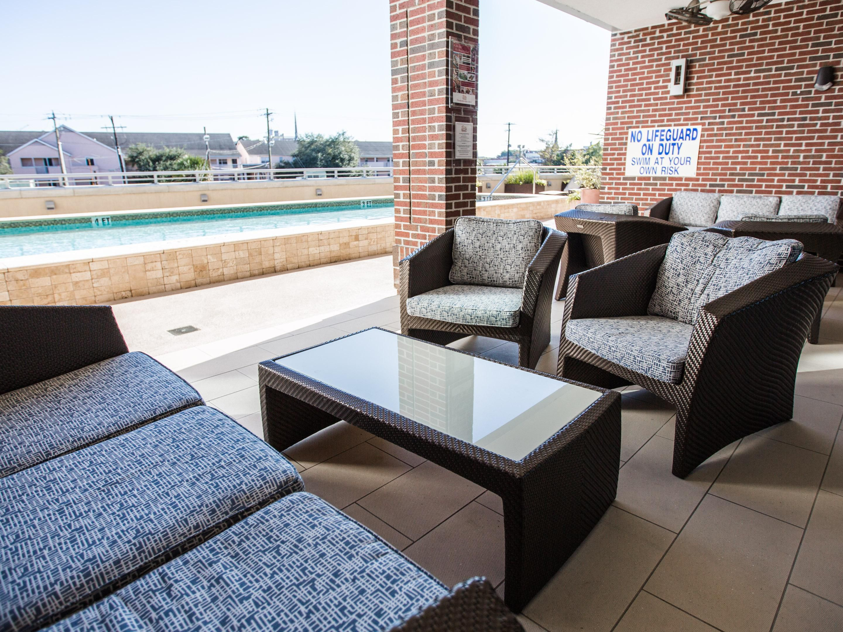 Plenty of Outdoor Seating by our Outdoor Heated Pool