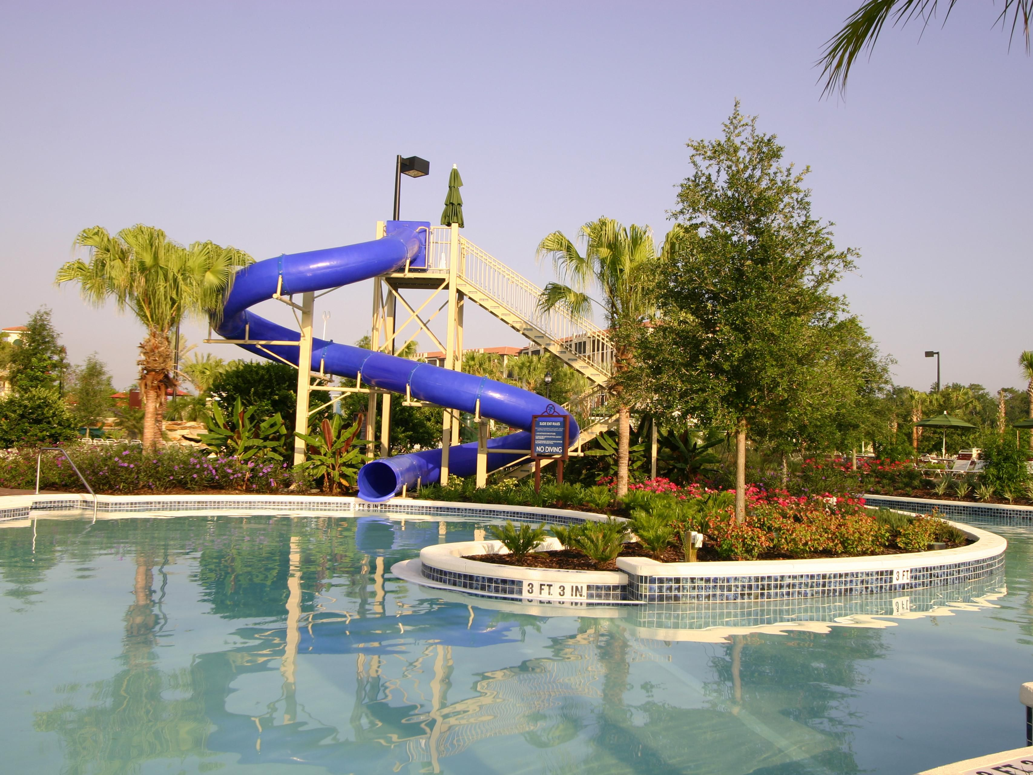 Enjoy water slides and the lazy river in River Island