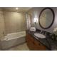 Bathroom has shower/tub combo