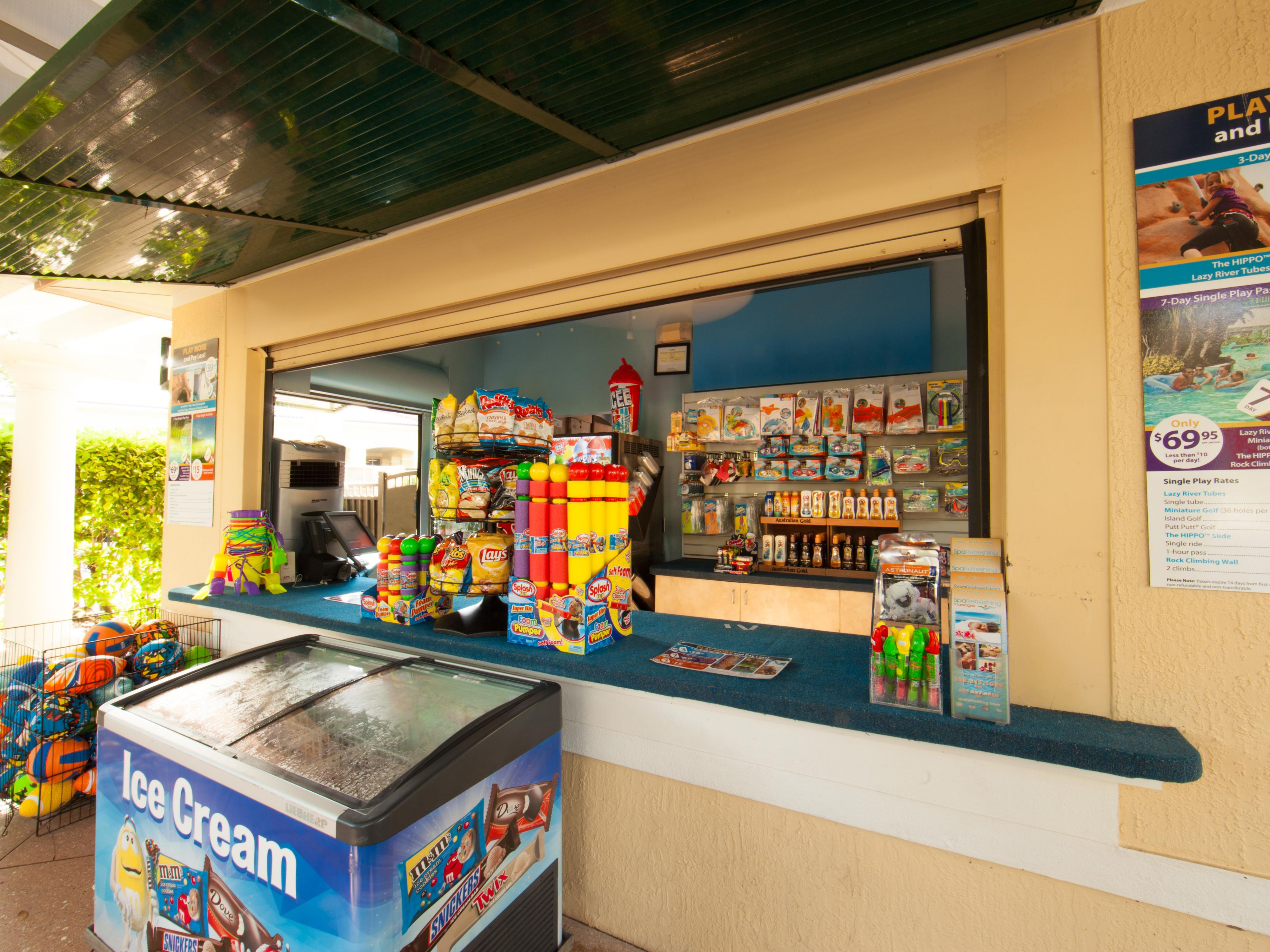 Grab much needed items at the Splash Shack