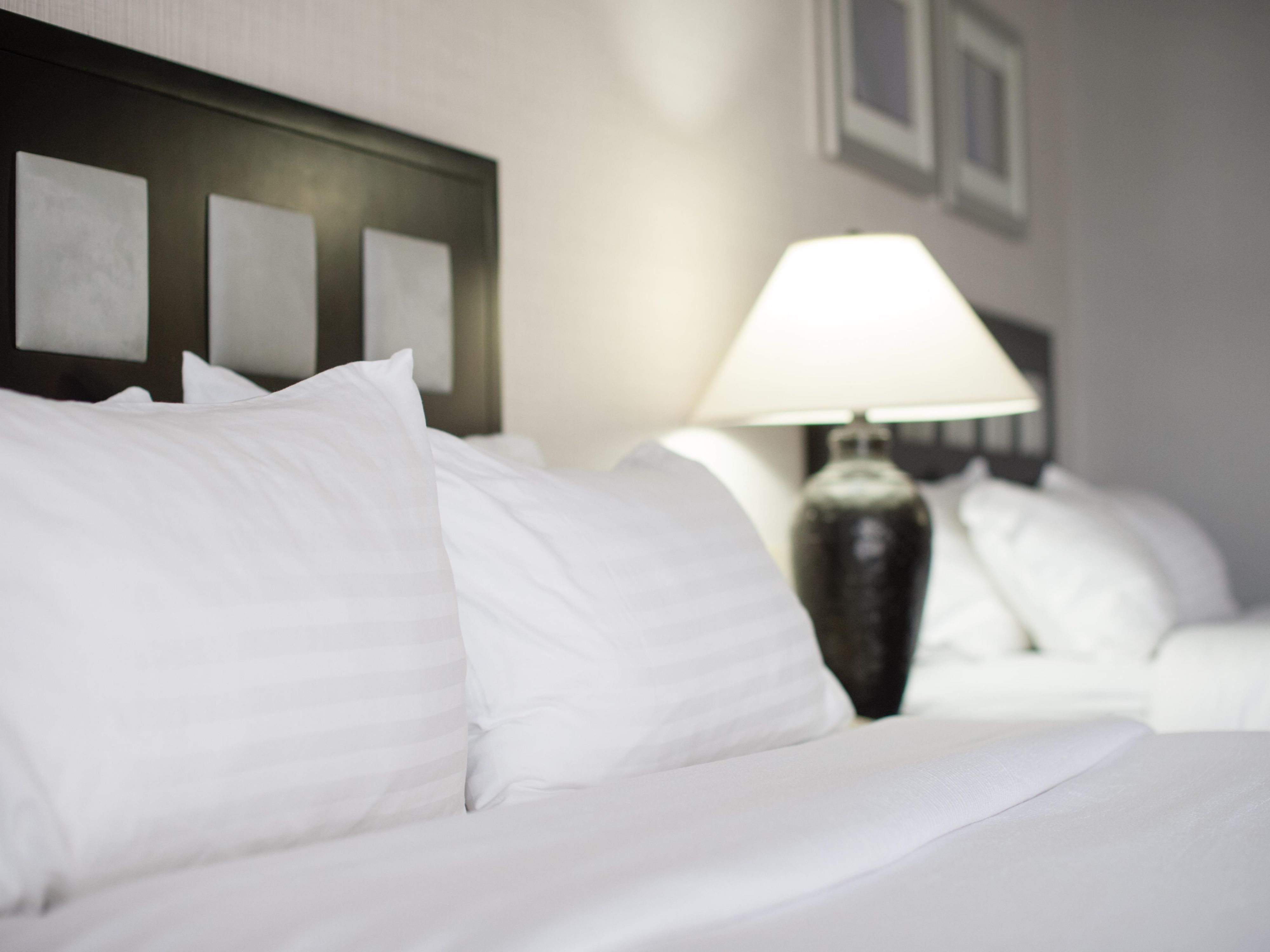 Enjoy the comfort of our new pillows and beds in our guest rooms