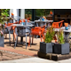We serve food and drinks on our outside terrace
