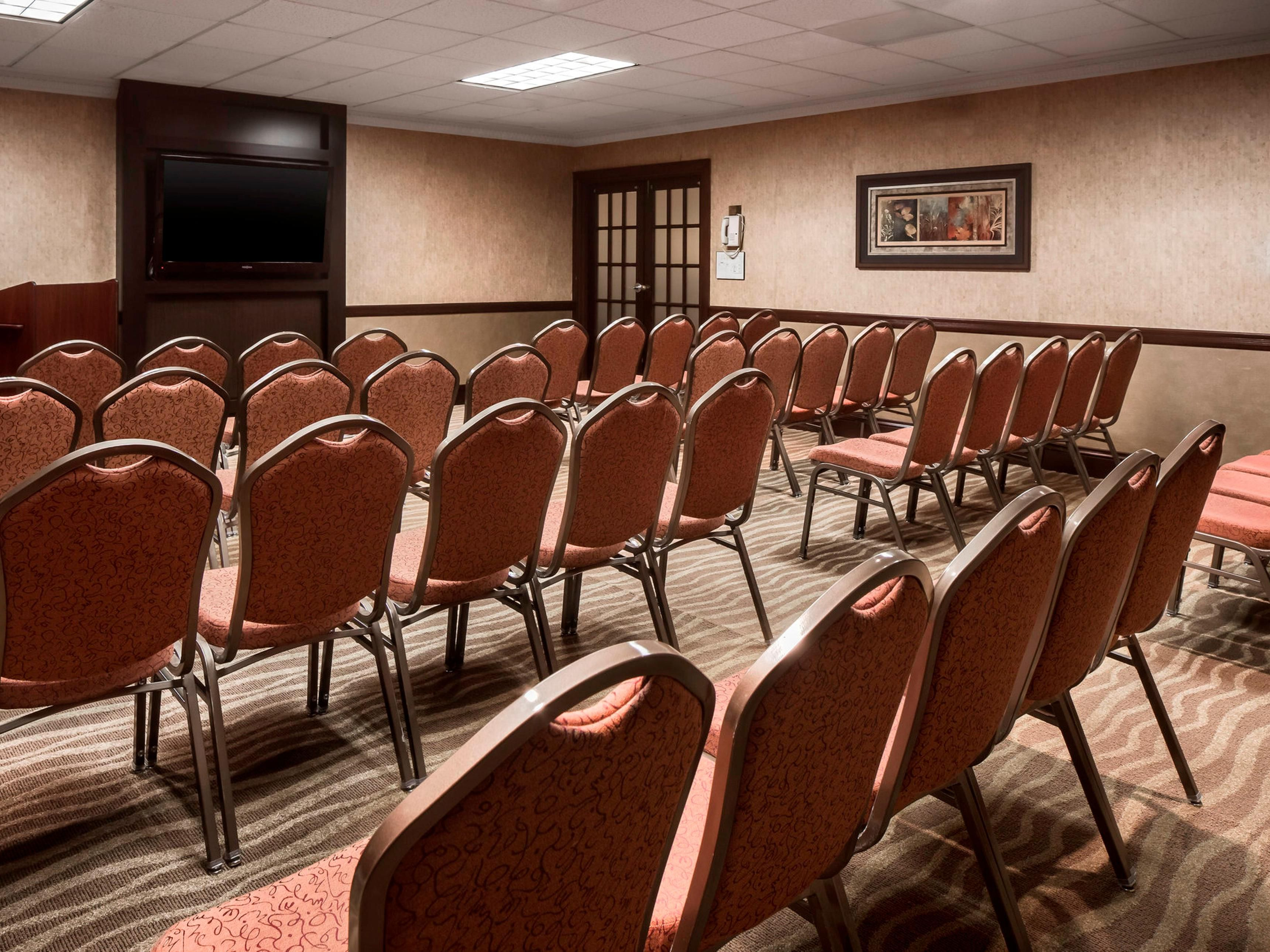Our meeting rooms offer flexible seating arrangements.