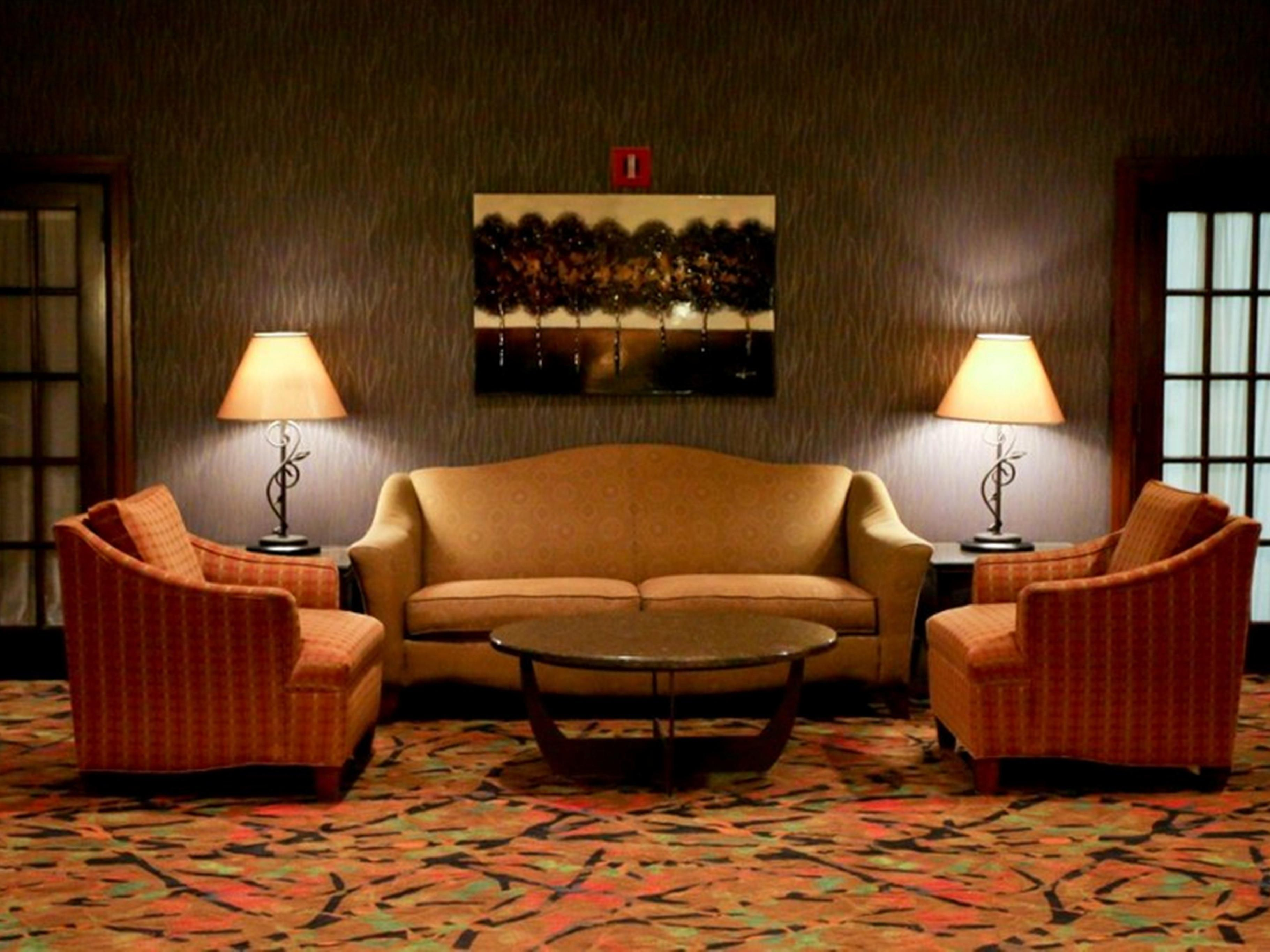 Comfortable seating areas are spread around the entire lobby