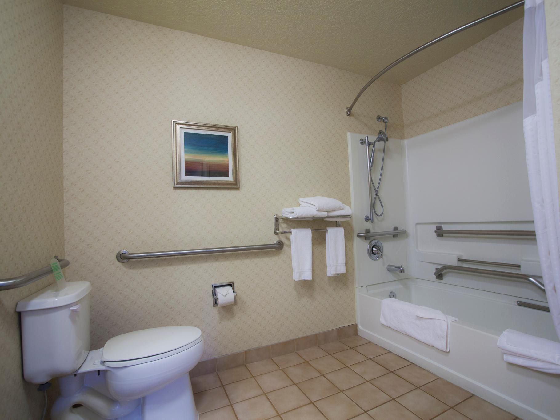 Find space and special amenities in our handicapp suite bathroom