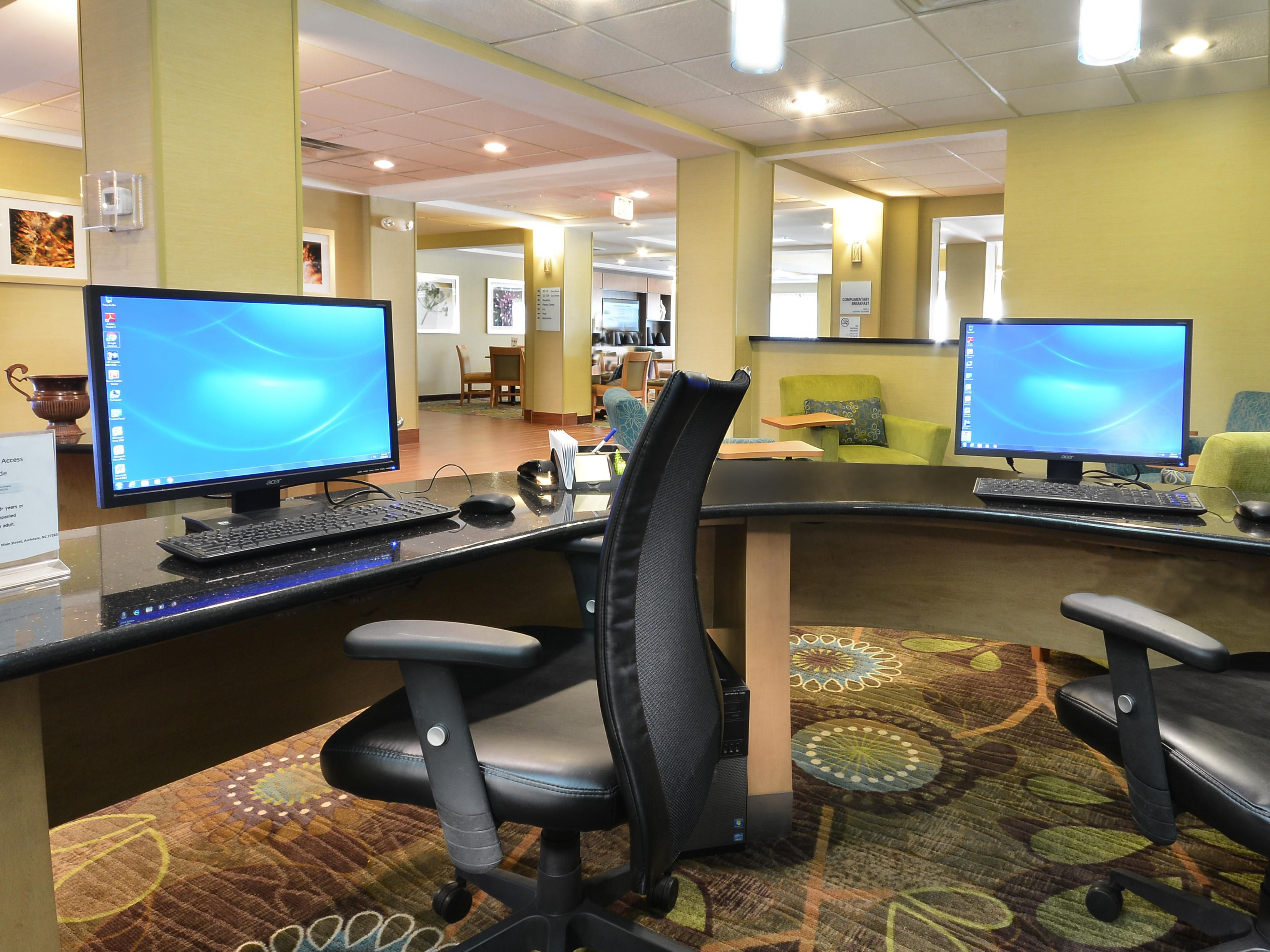 Our business center is well-equipped for your work.