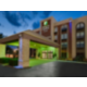 Newly renovated hotel with well lit entrance and porte cochere