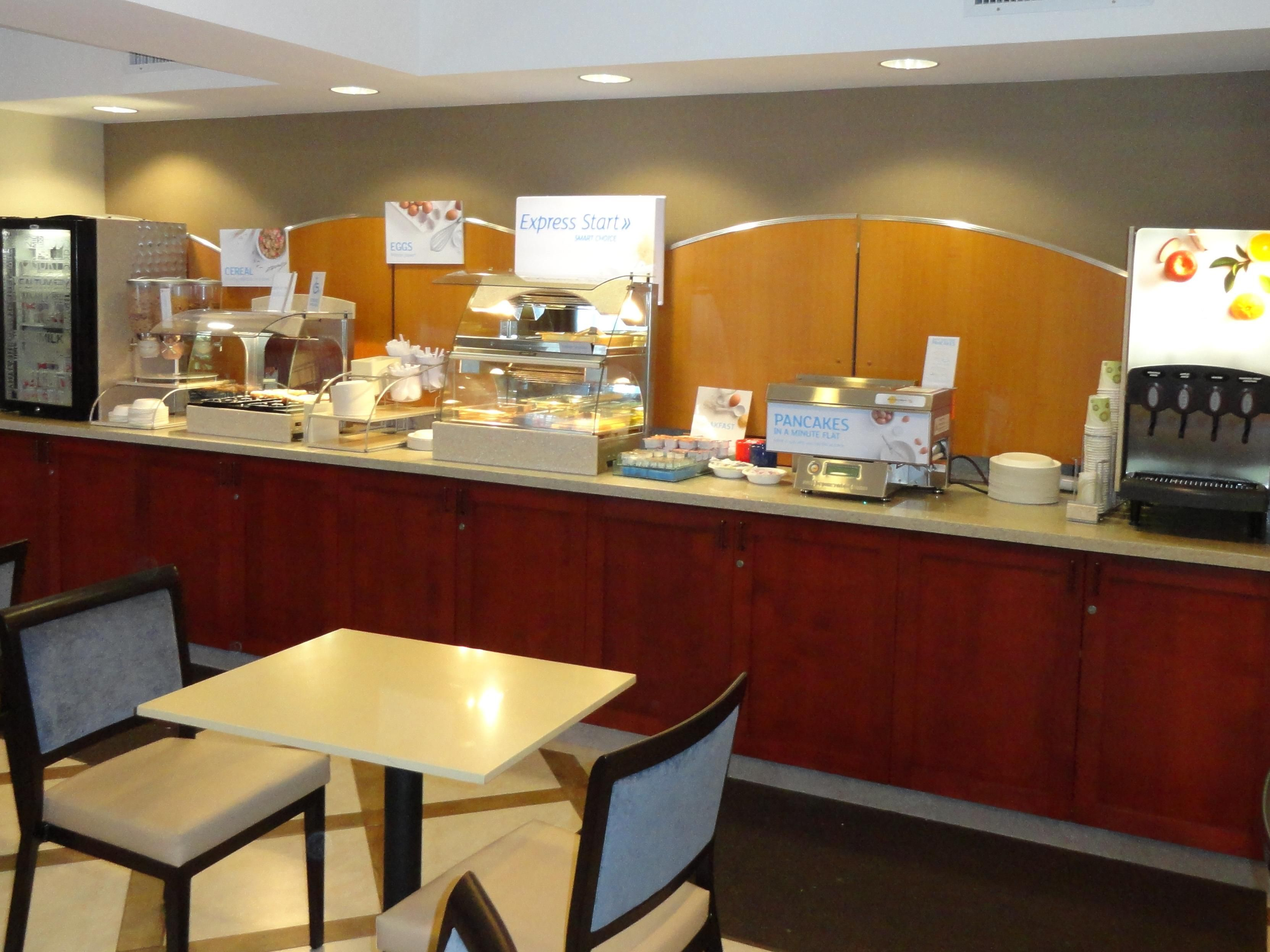 Complimentary Hot Breakfast-Eggs, Pancakes, Meat, Juice, & More