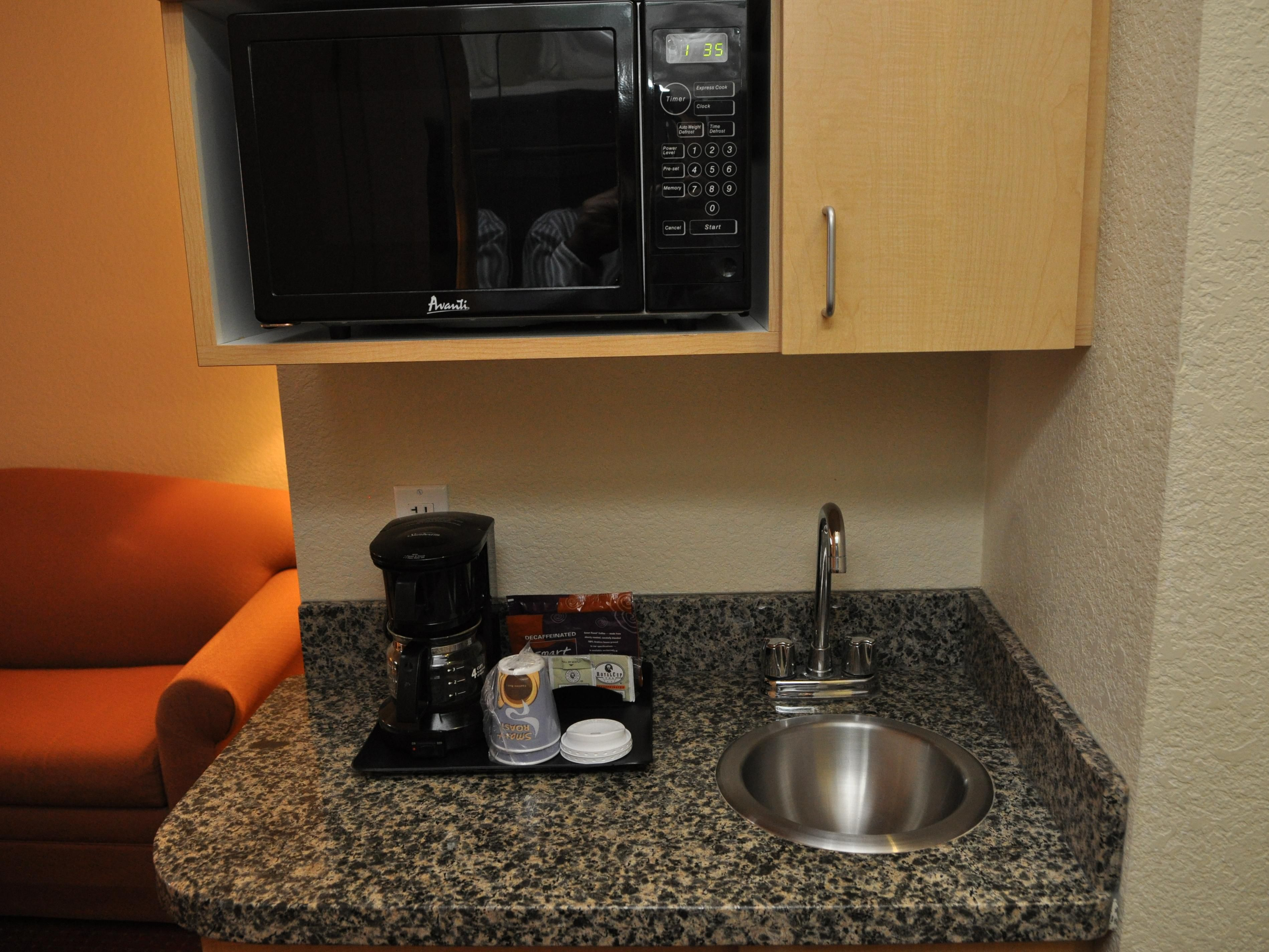 Microwave and Refrigerator in Suites