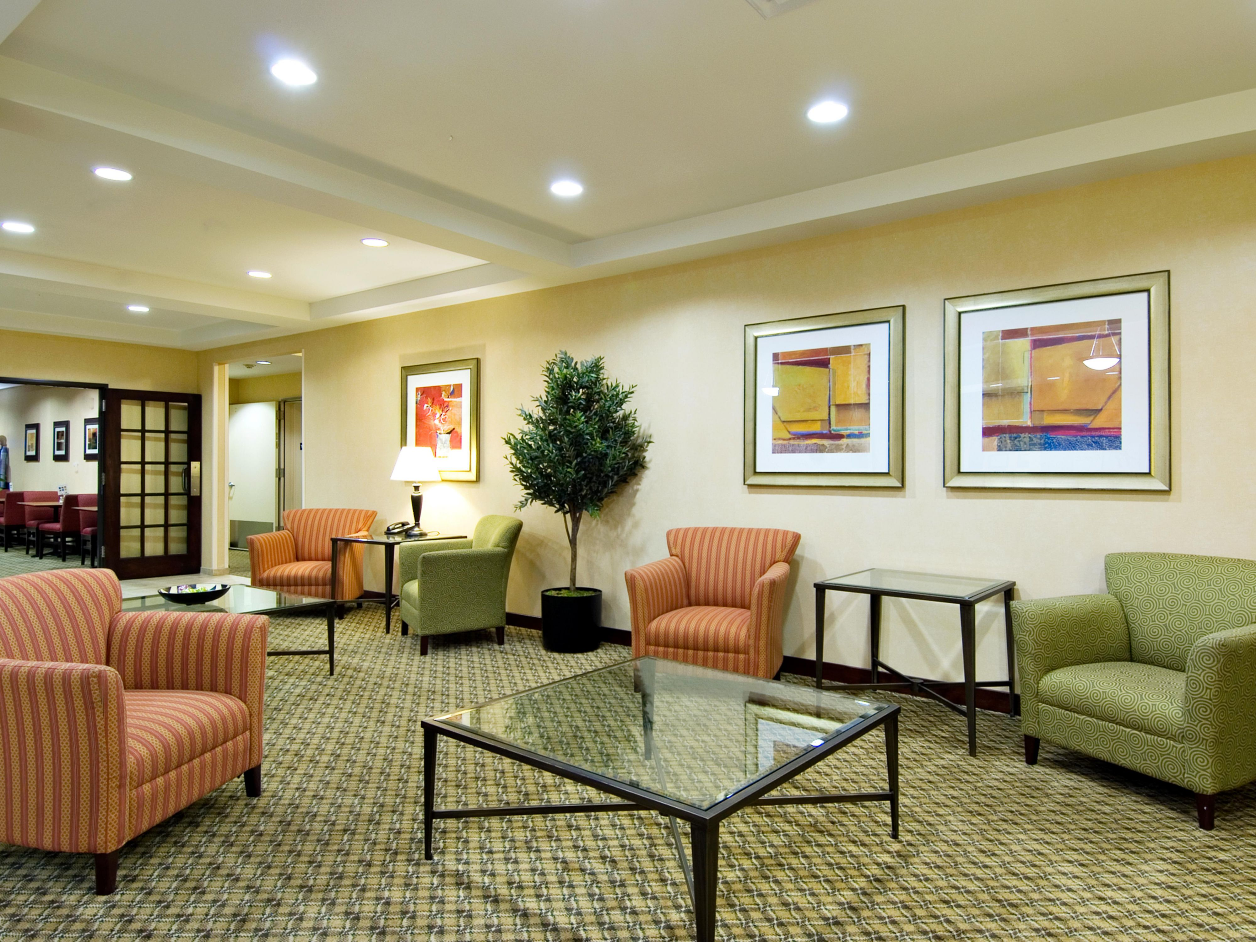 Comfortable seating in our lobby