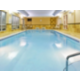 Our beautiful indoor pool and whirlpool are open rain or shine!