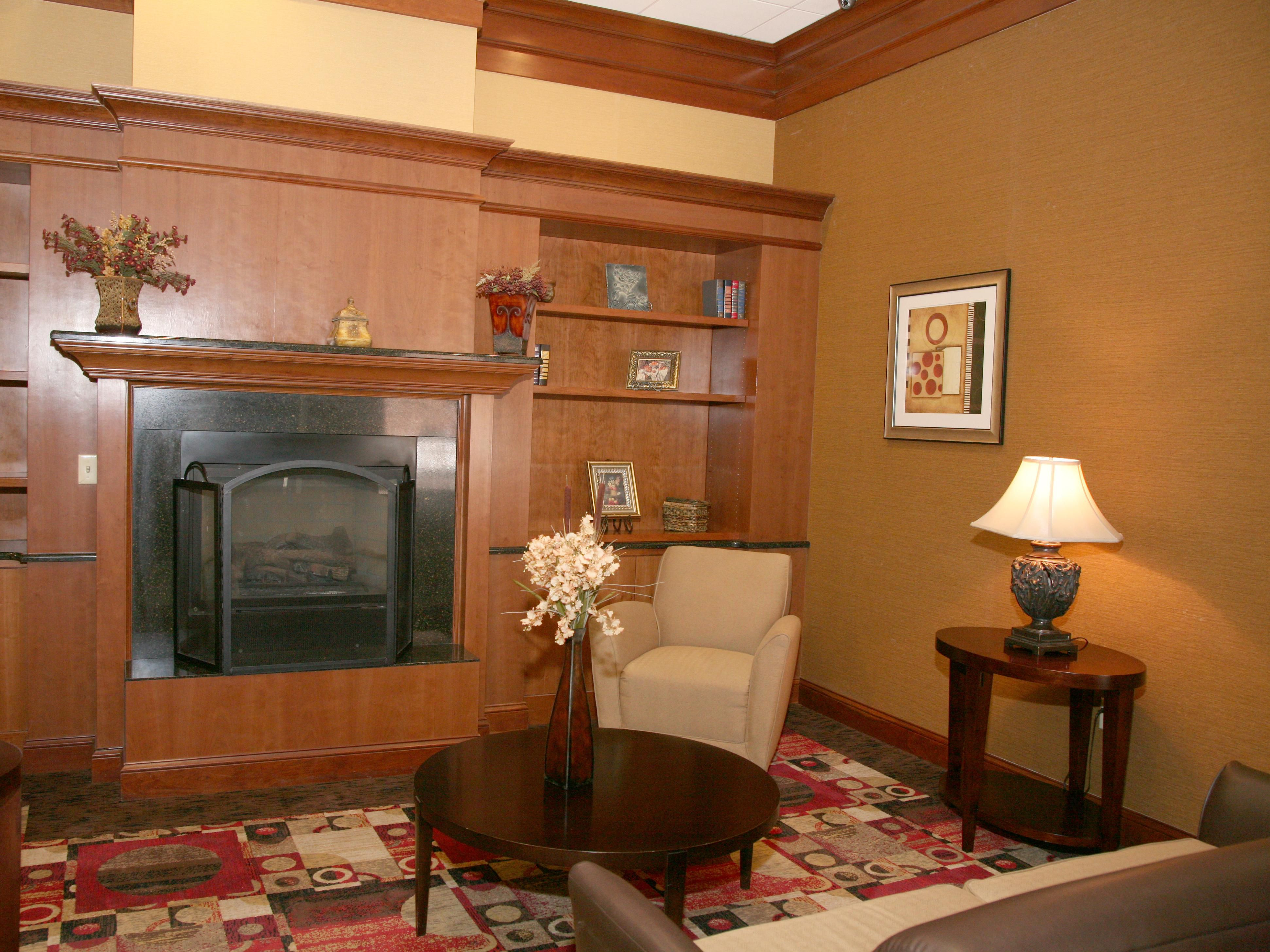Fireplace and Seating Area in Main Lobby