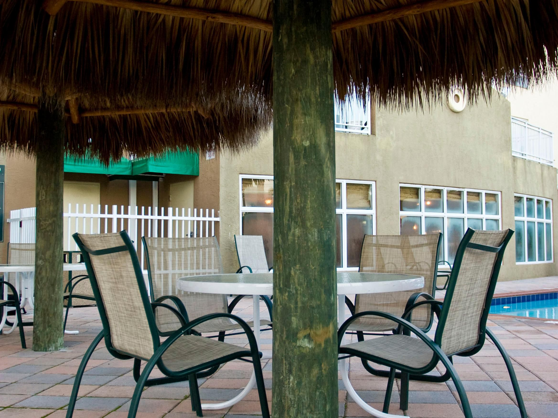 Meet with friends on our pool-side patio.
