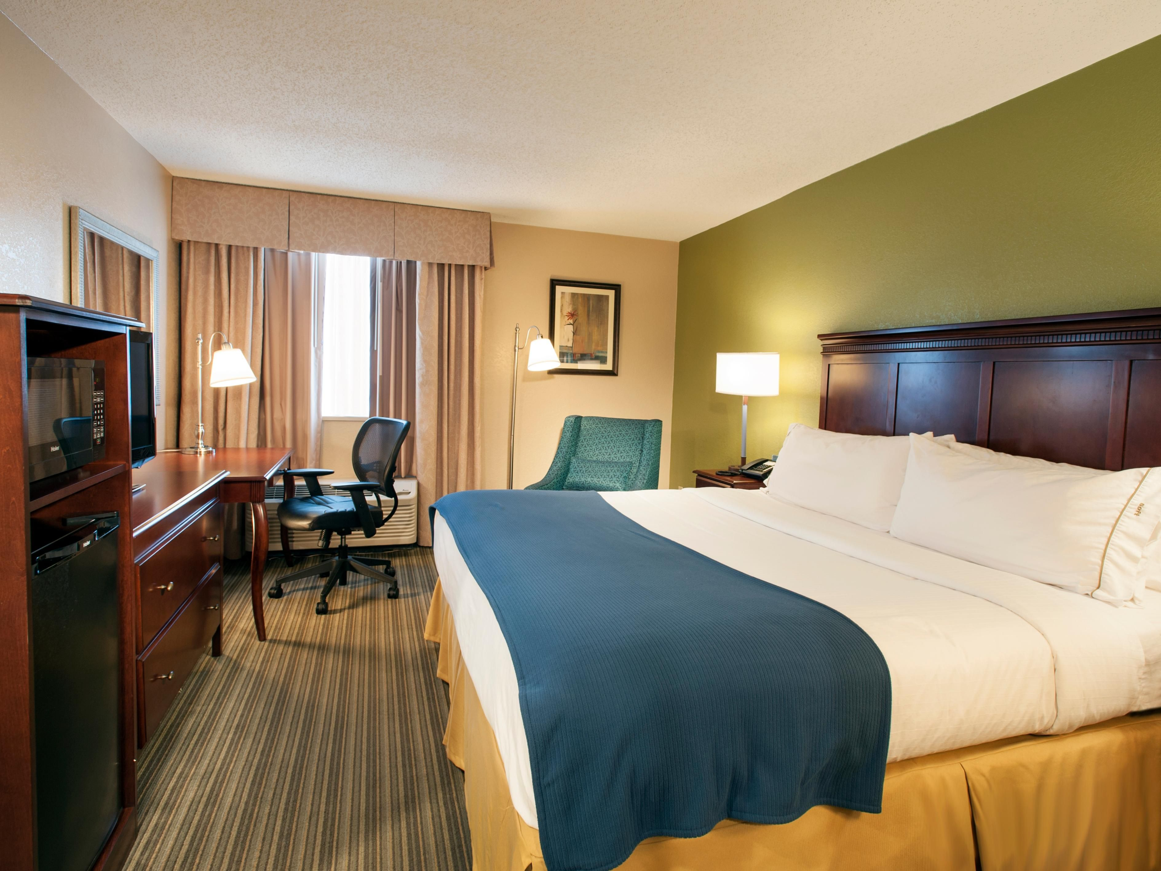 Enjoy free wireless Internet in our spacious king bed guest room