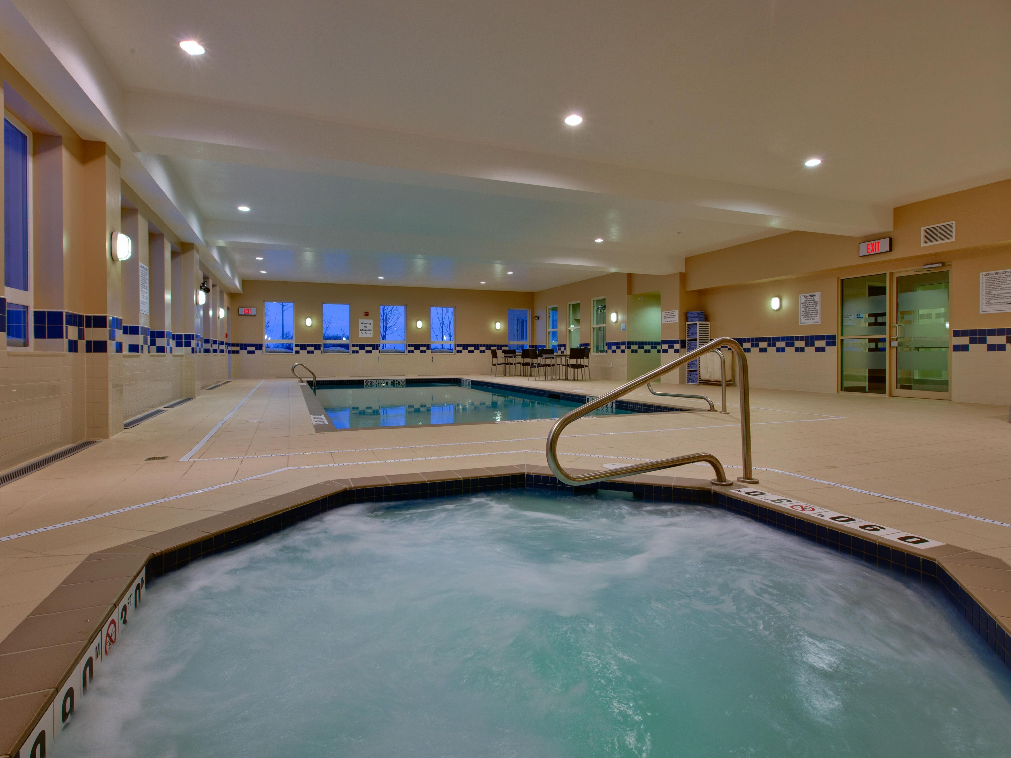 Either a warm dip in the pool or whirlpool to melt away your day.