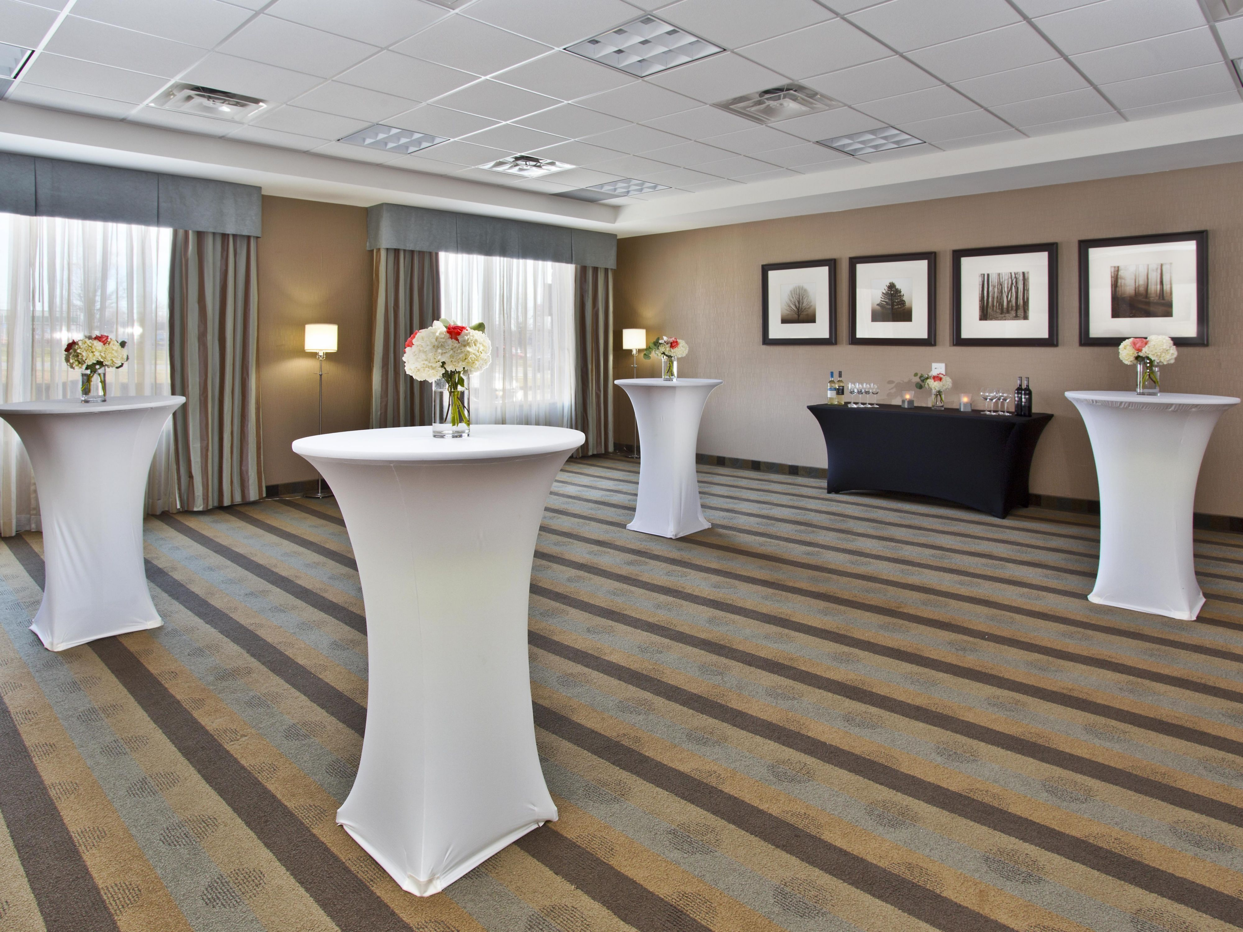 Meeting room setup in a banquet format