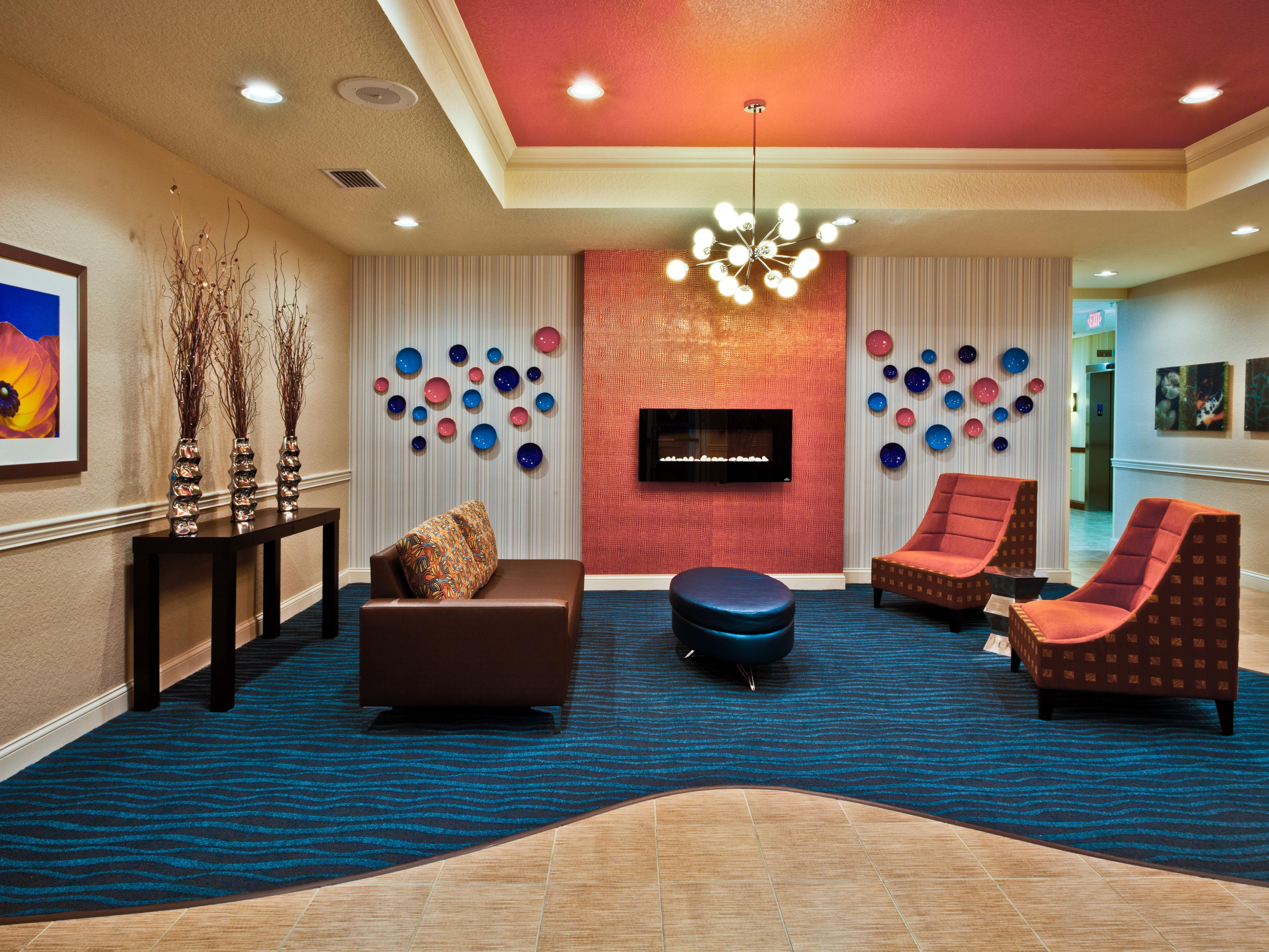 Come see our colorful lobby.