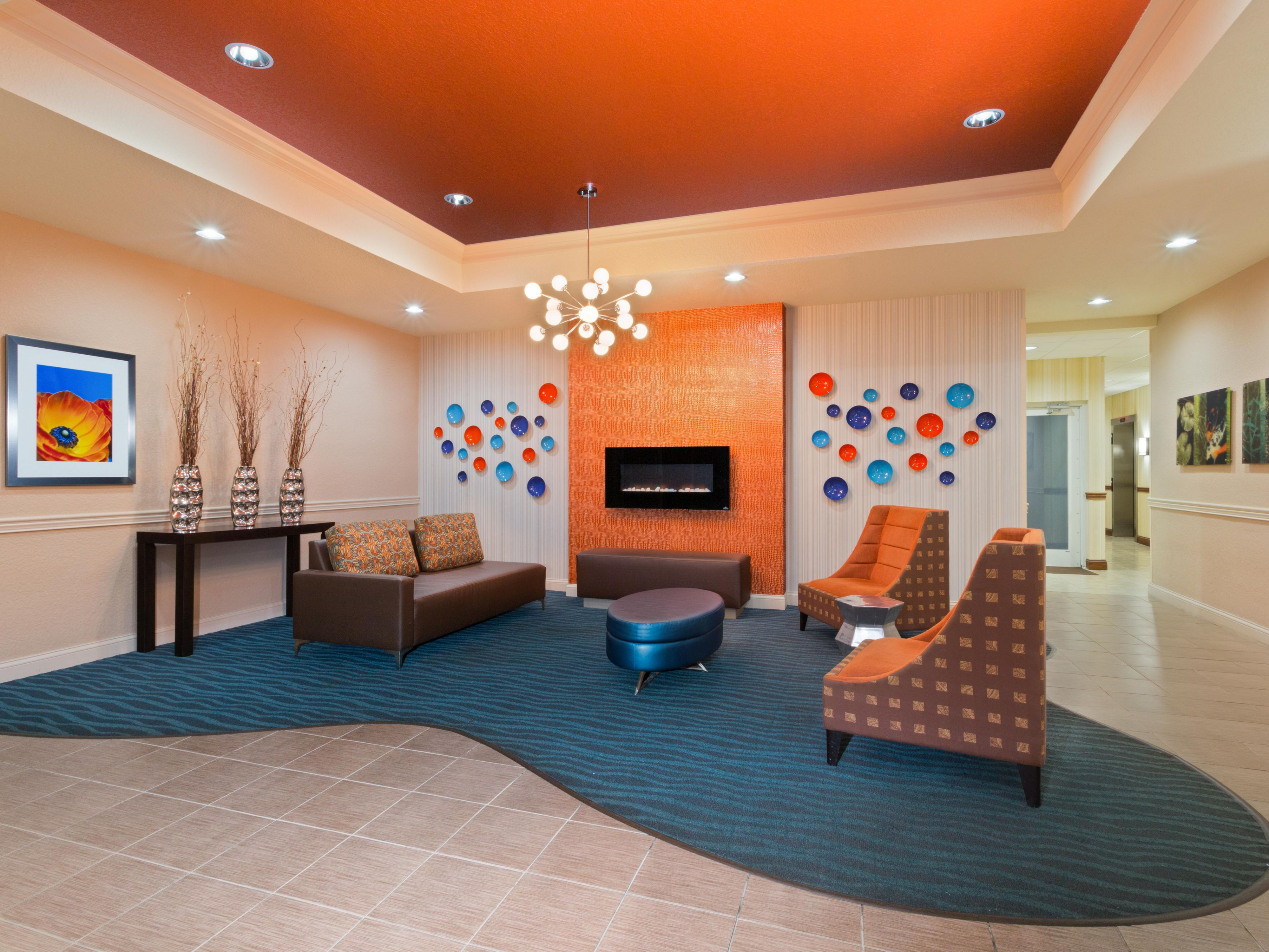 Our lobby is a great place to mingle with friends and family.