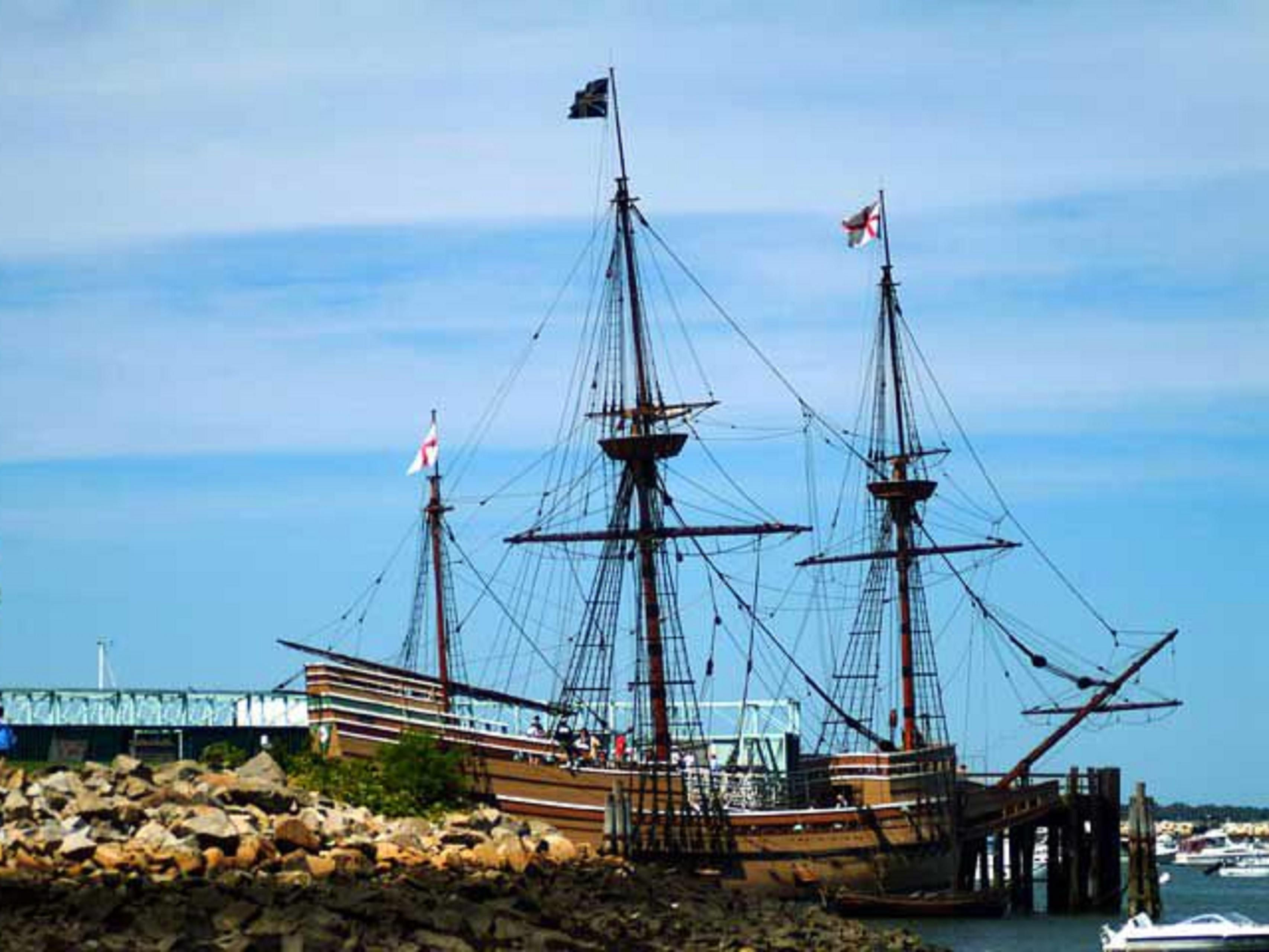 The Mayflower II resides in Plymouth Harbour