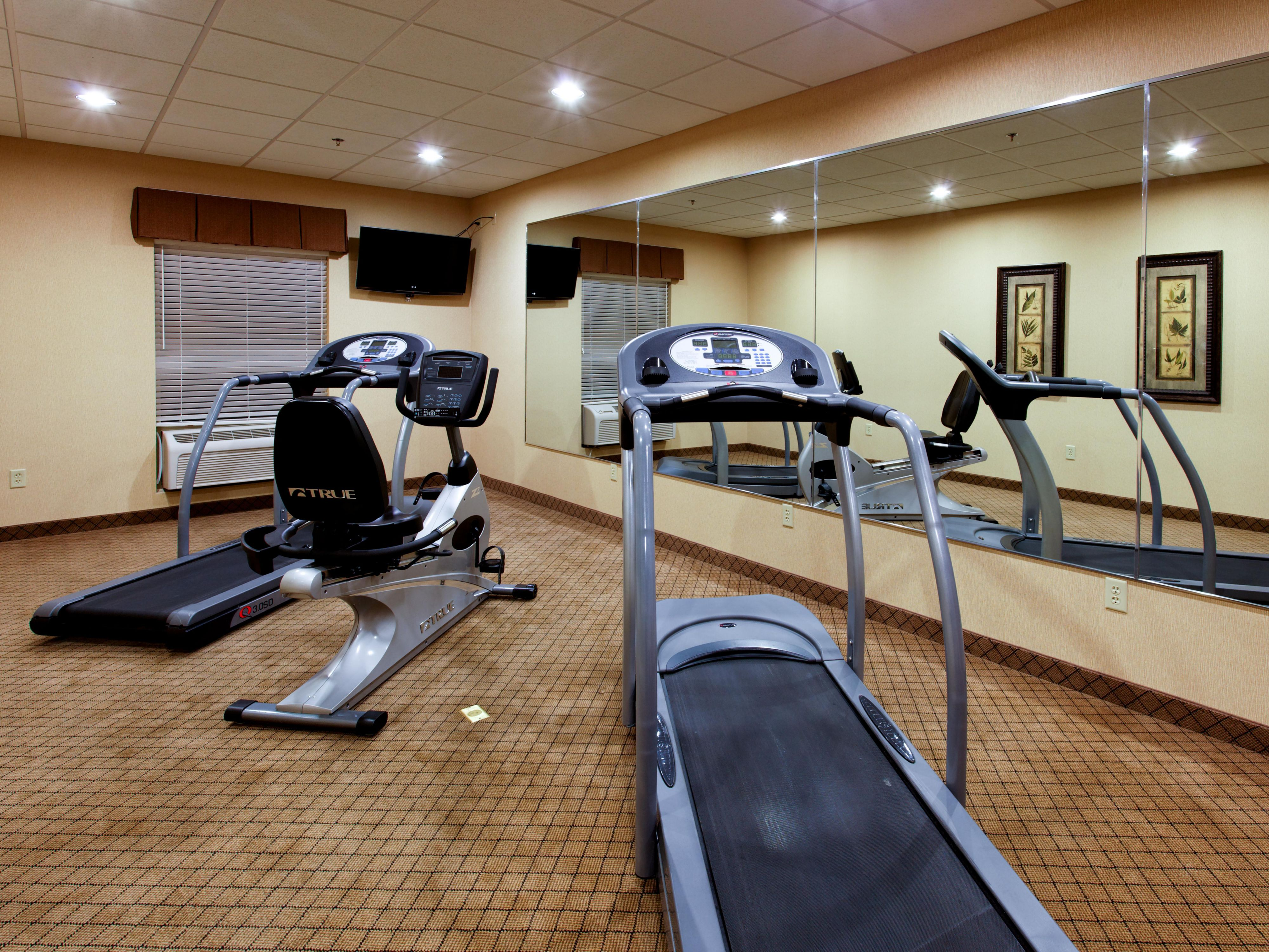 Treadmills and exercise bike help keep our guests fit