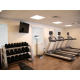 Weight bench, free weights, treadmills, & scale.