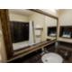 Vanity mirror in bathroom.
