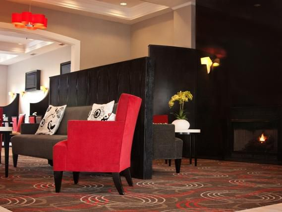 Gather around the fireplace in our inviting lobby!