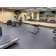 Fitness Center with free weights, treadmills, and a yoga area.