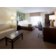 Spacious queen suite with a pullout sofa and walk in shower.