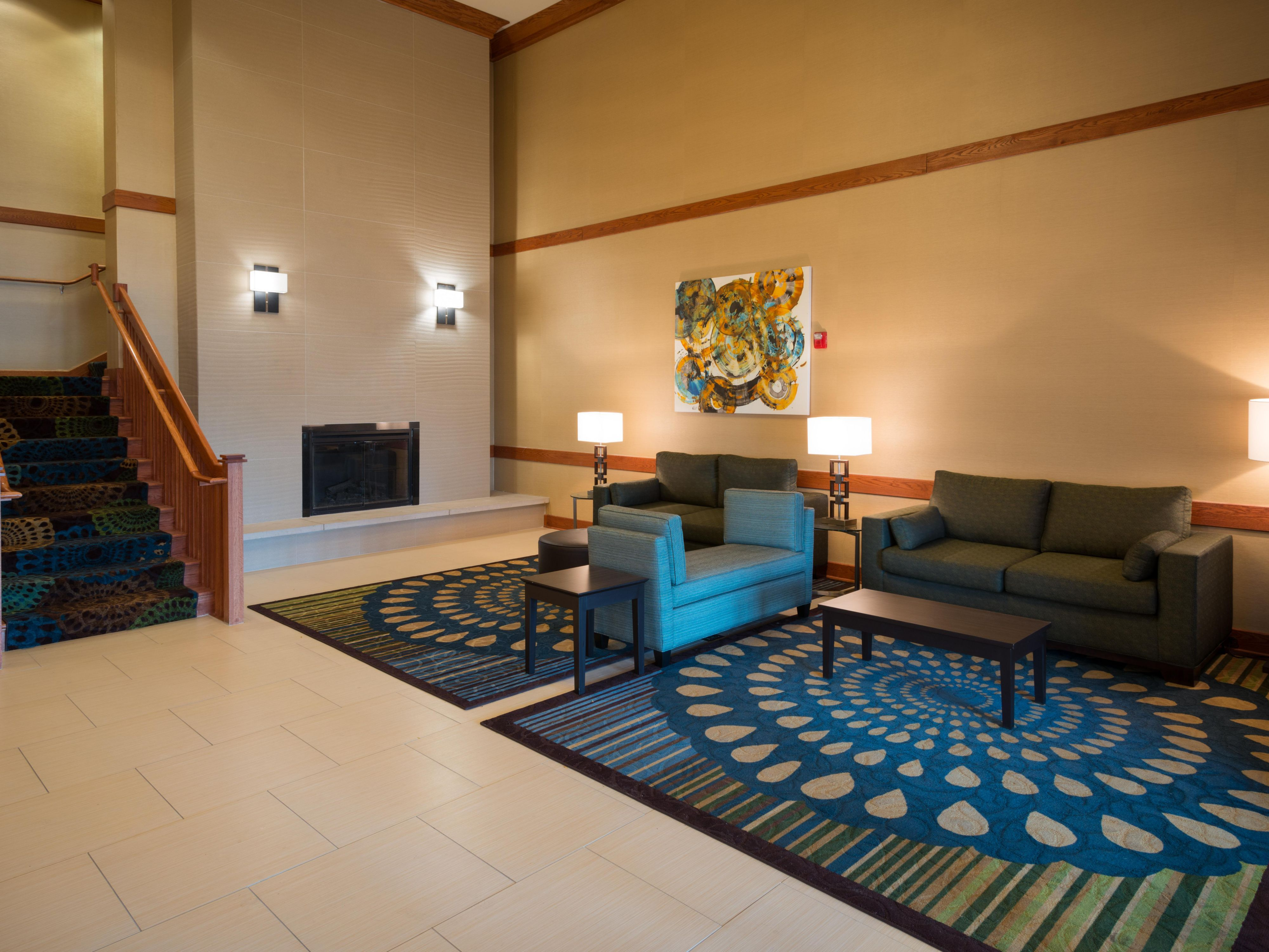 Newly remodeled lobby at the Holday Inn Express by O'Hare Airport