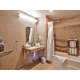 Accessible restroom with fold down bench