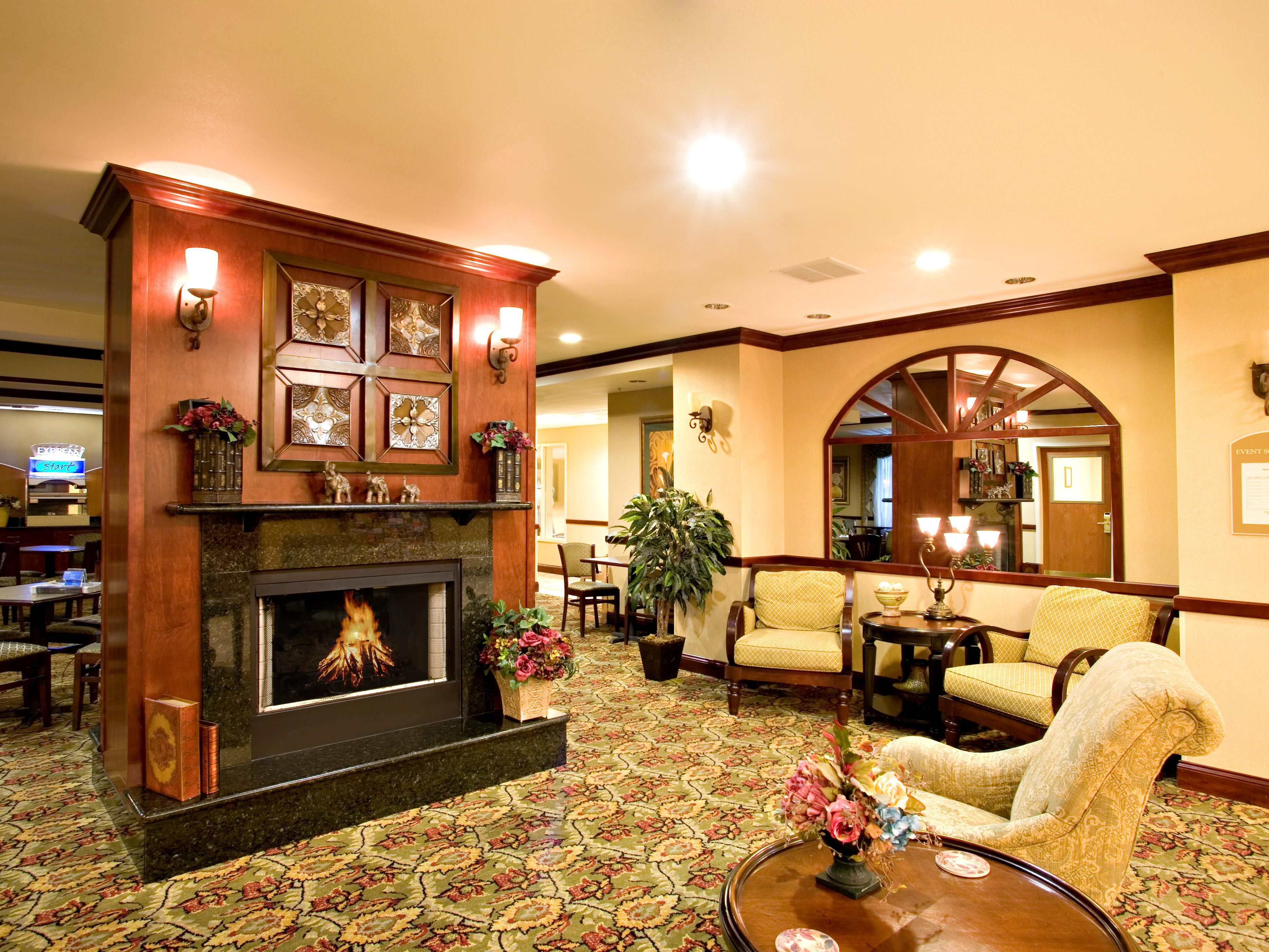 Lobby fireplace and seating