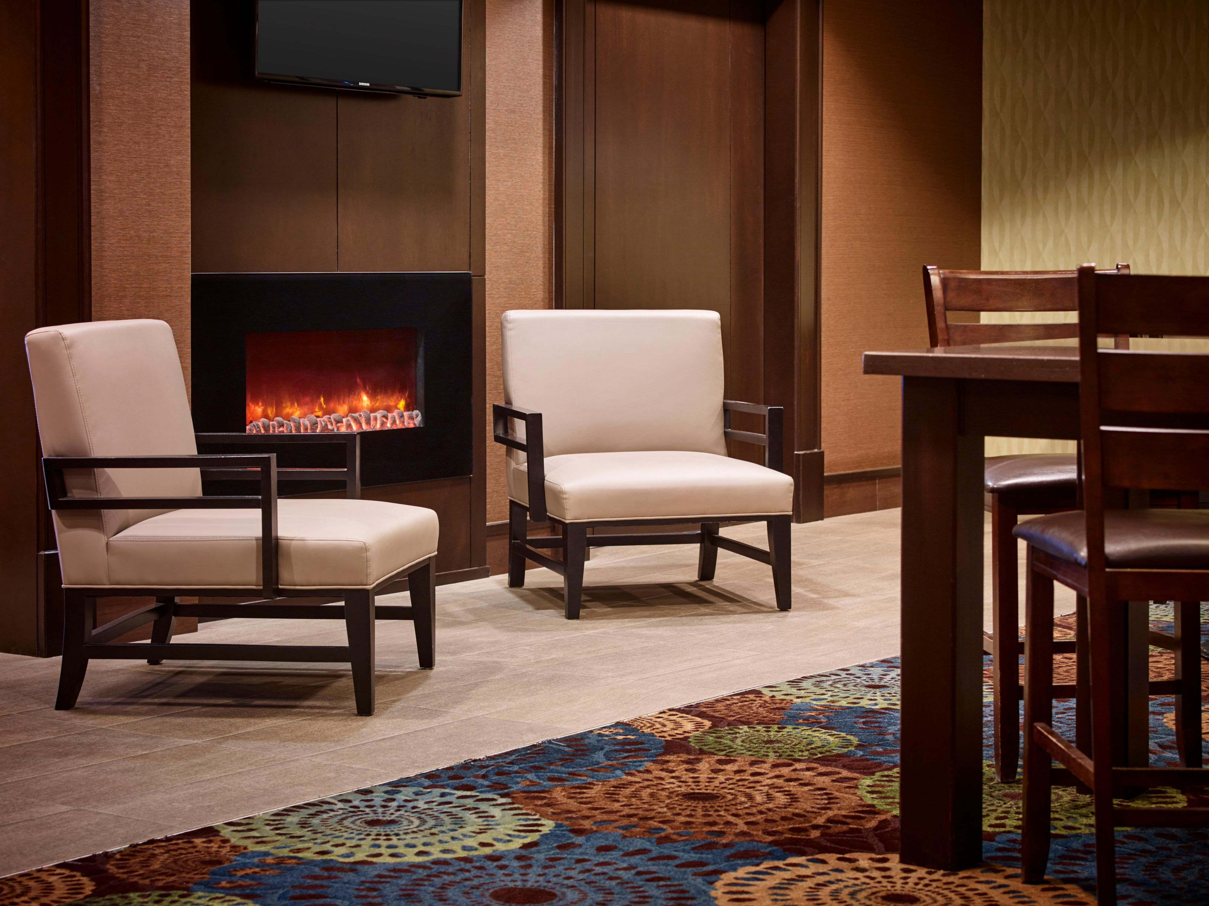 Cozy up next to our fireplace.