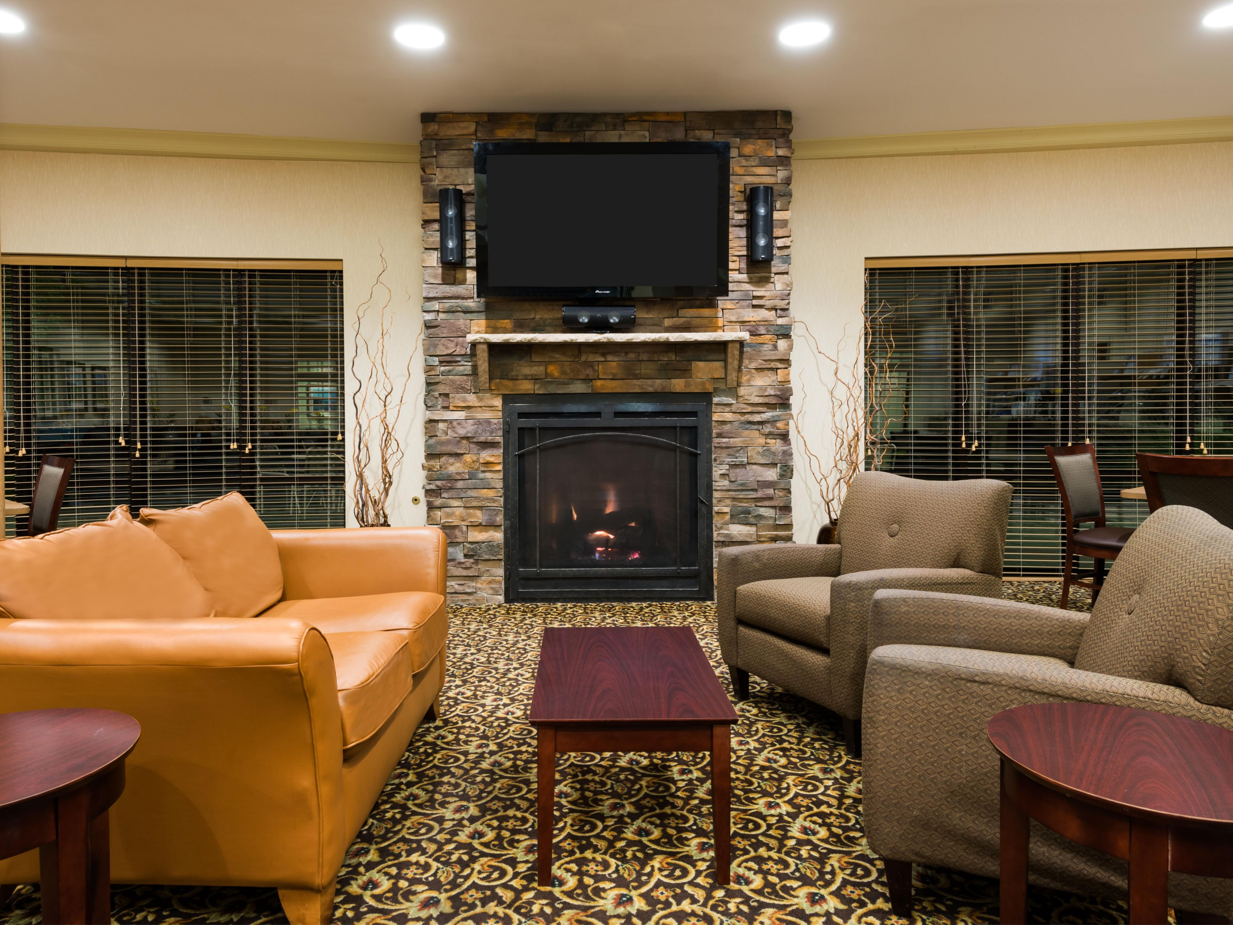 Enjoy the cozy fire in the Great Room