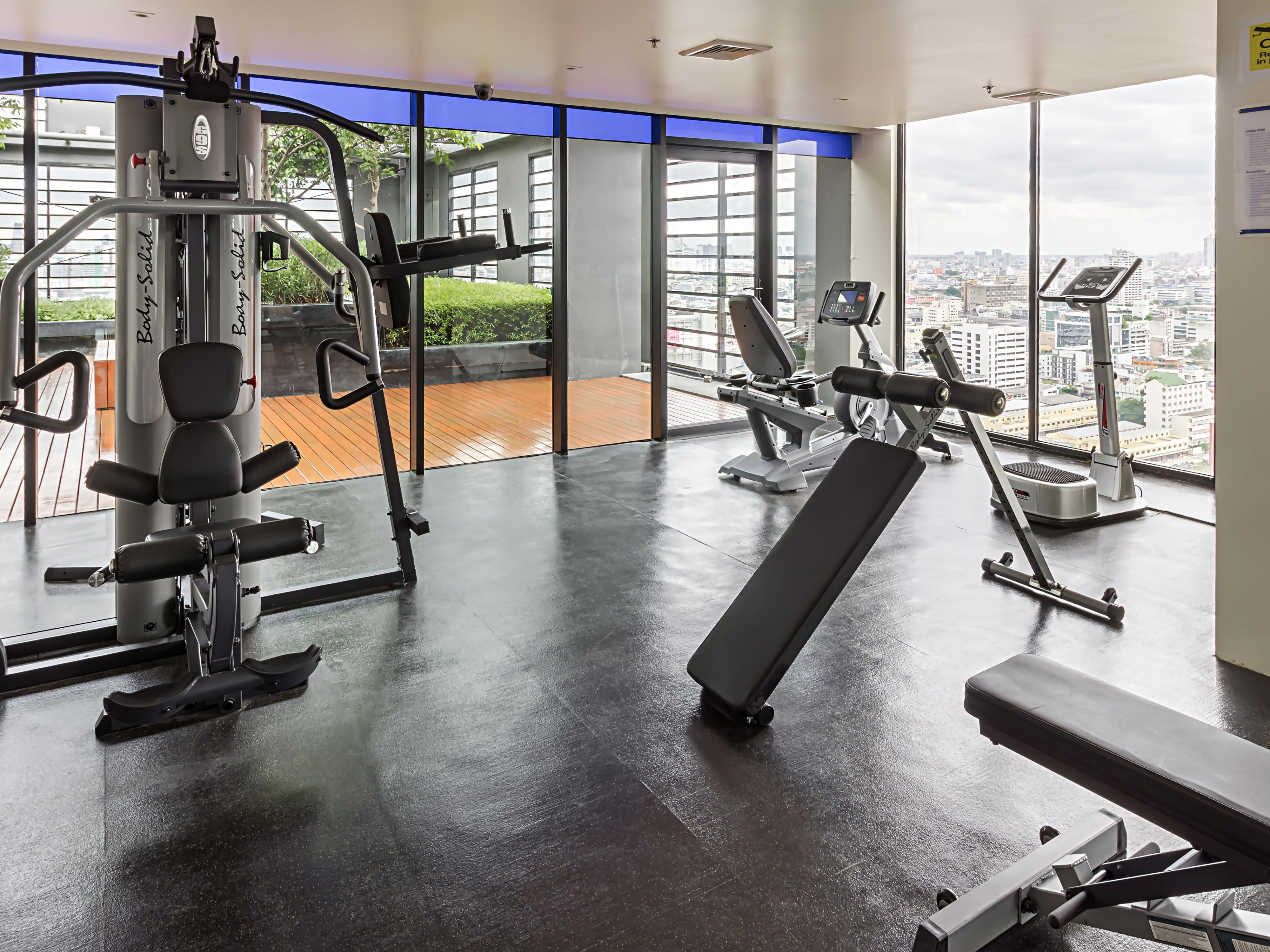 24-hour Fitness Center at Rooftop level with Bangkok city view