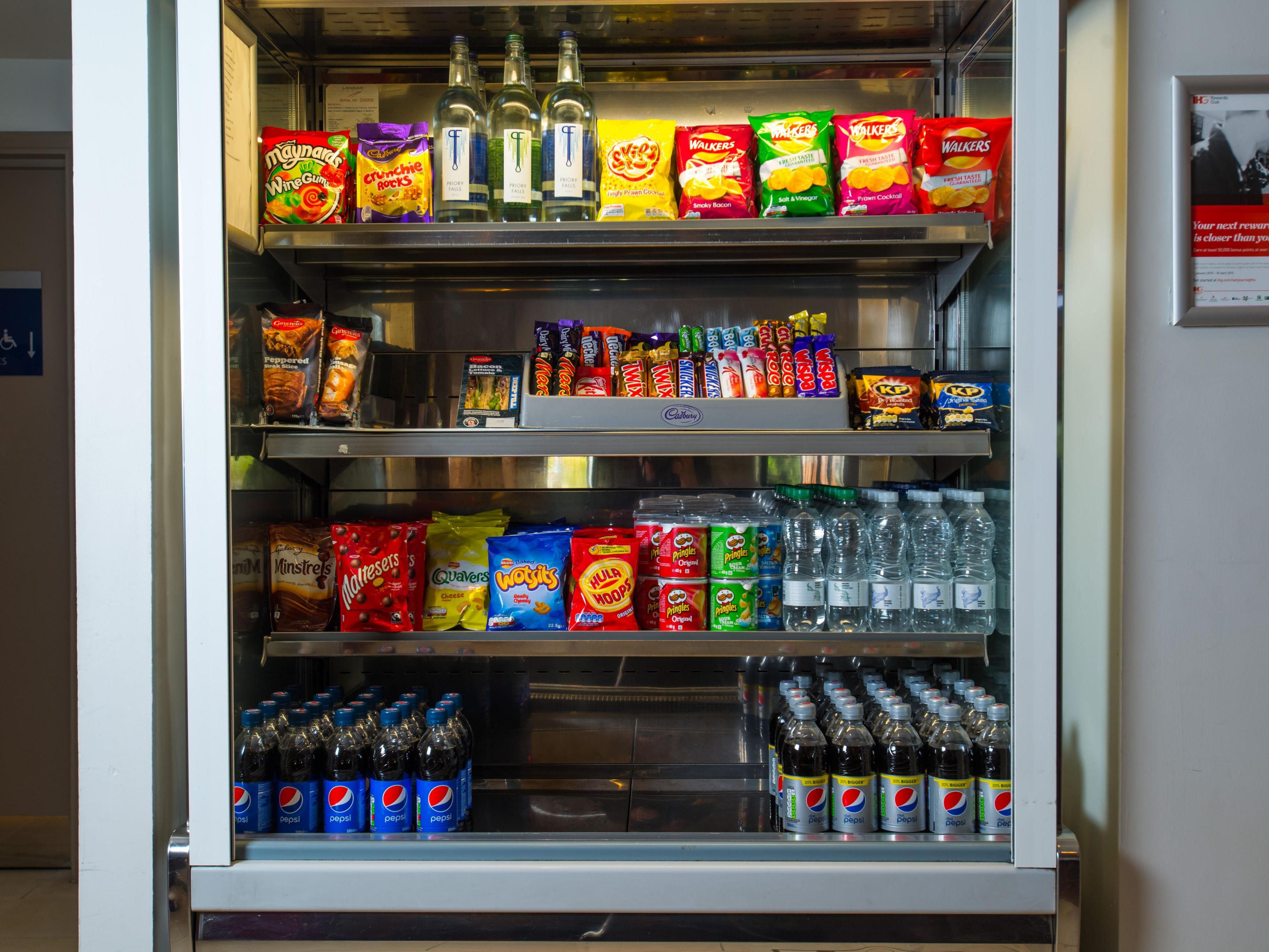Peckish? Grab a treat from our vending facilities at Reception