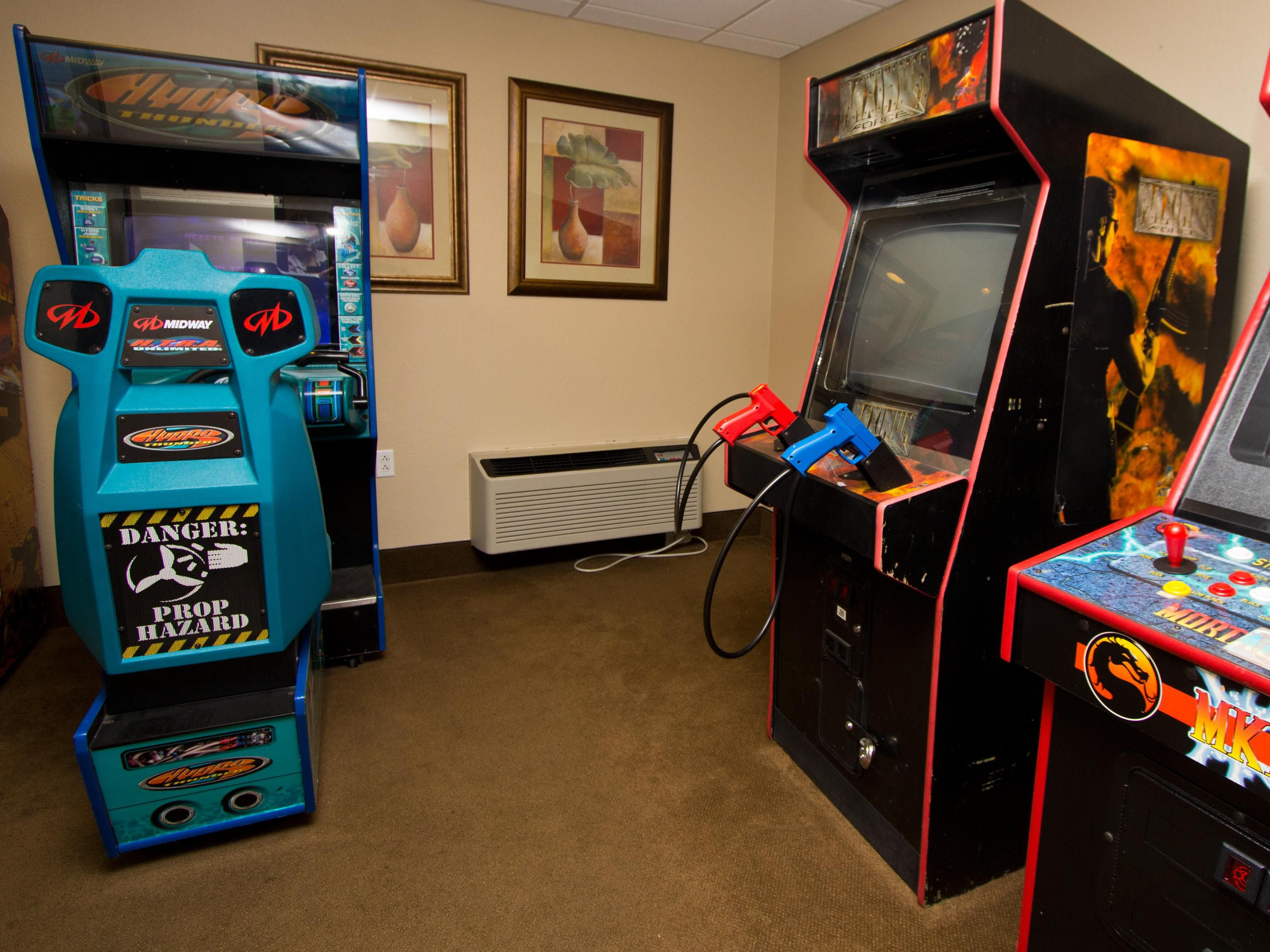 Game room just off the indoor pool