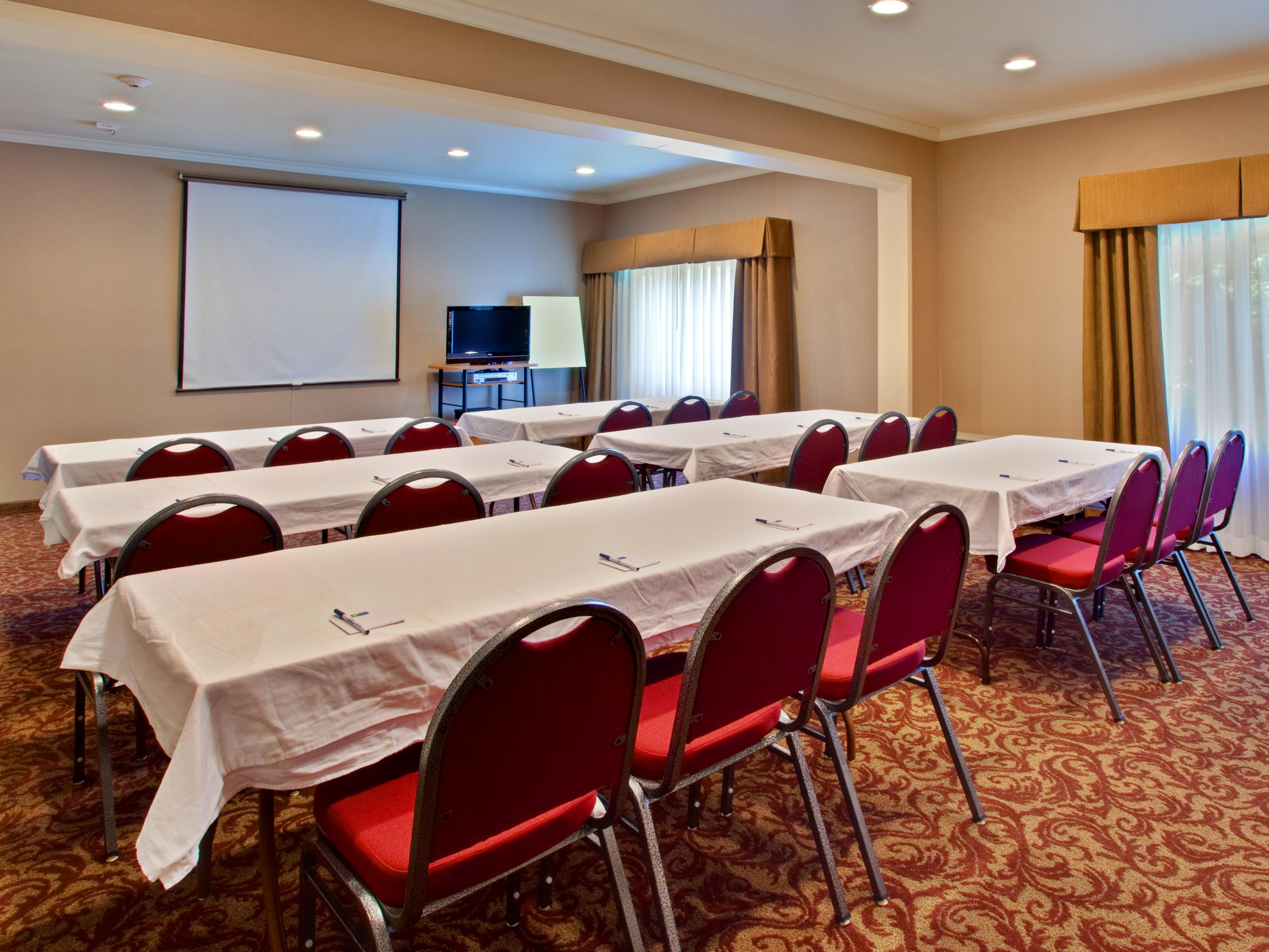 Meeting room can hold up to 45 guests in many different setups